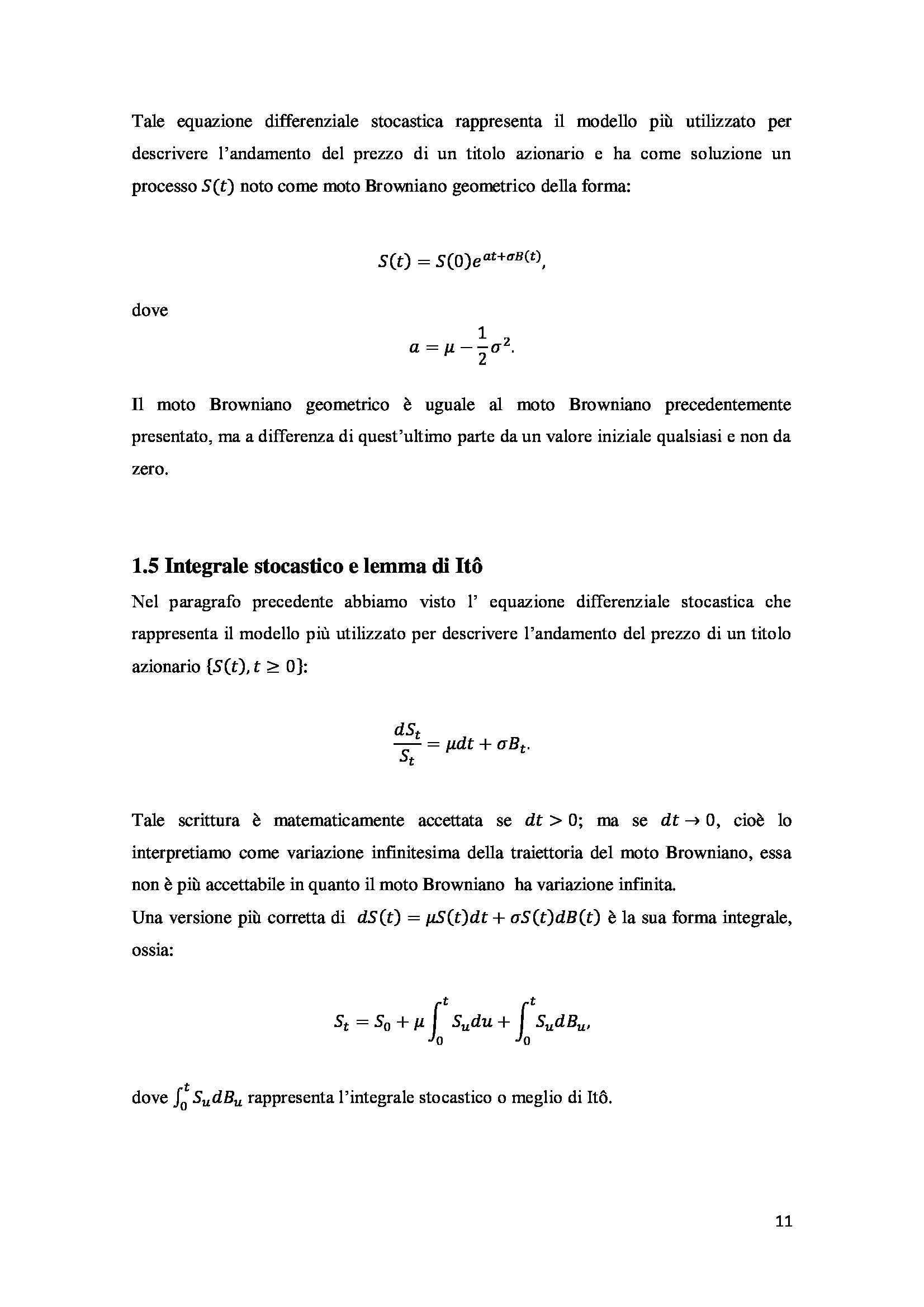 Tesi - Opzioni - metodi prezzatura Pag. 21