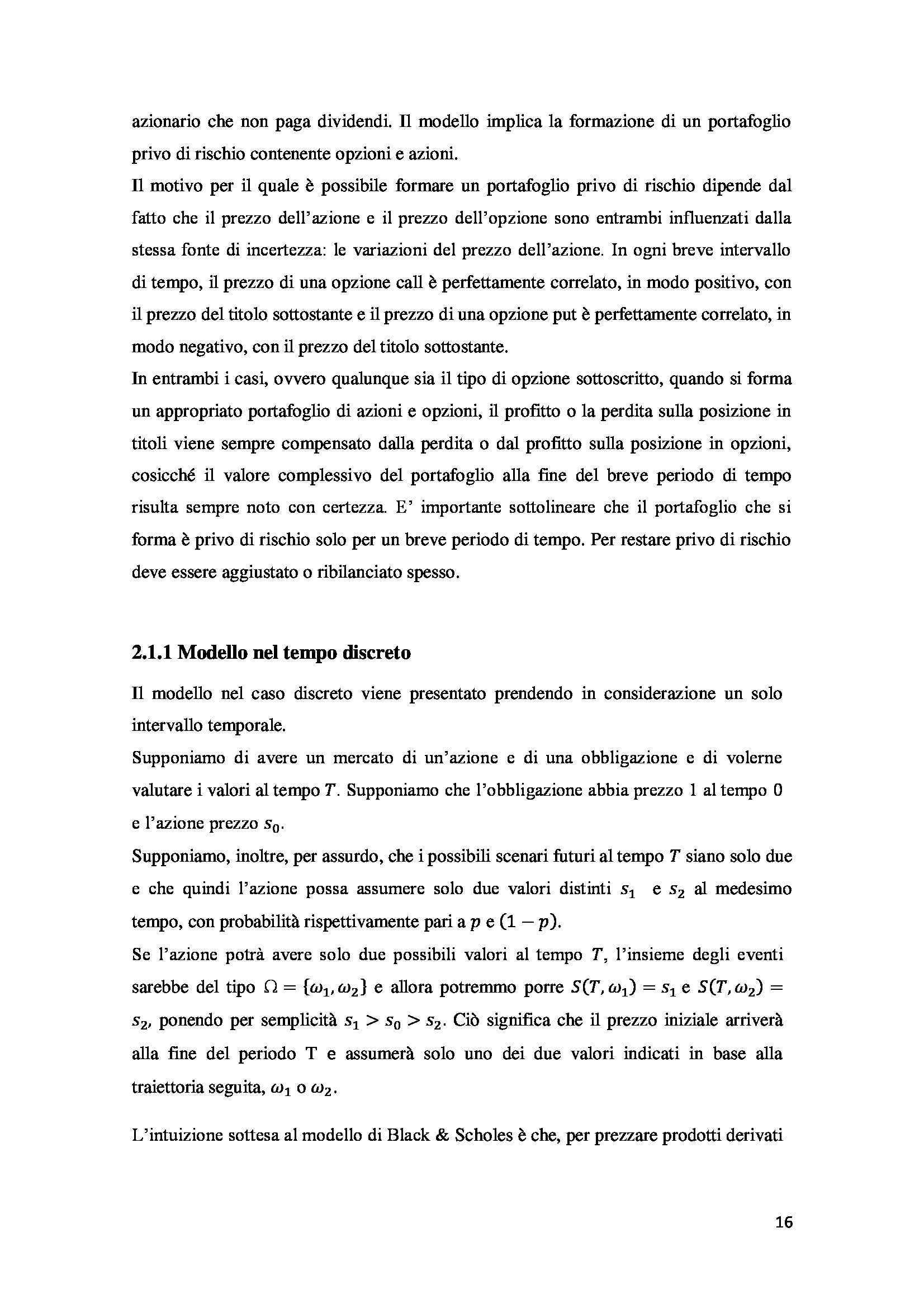 Tesi - Opzioni - metodi prezzatura Pag. 26