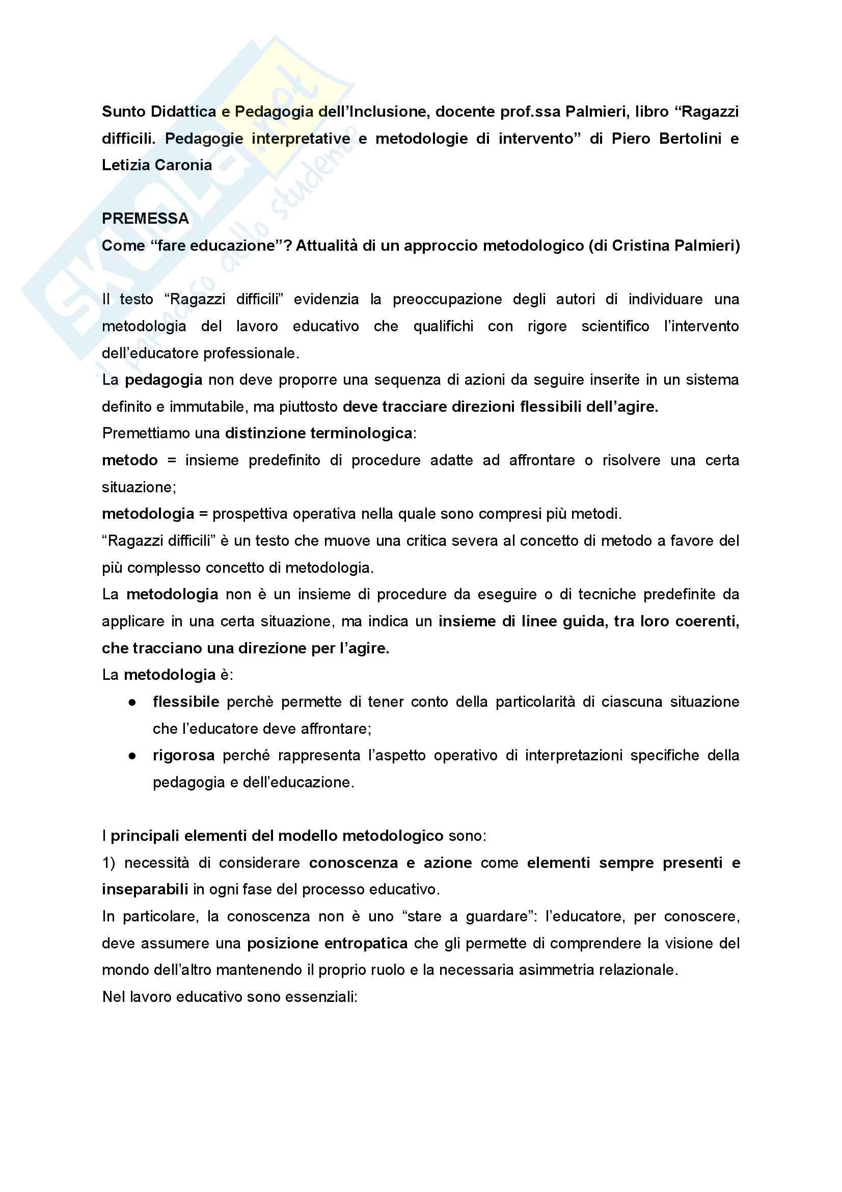 Riassunto esame Didattica e Pedagogia dell'inclusione con laboratorio, prof.ssa Palmieri, libro consigliato Ragazzi difficili. Pedagogie interpretative e metodologie di intervento
