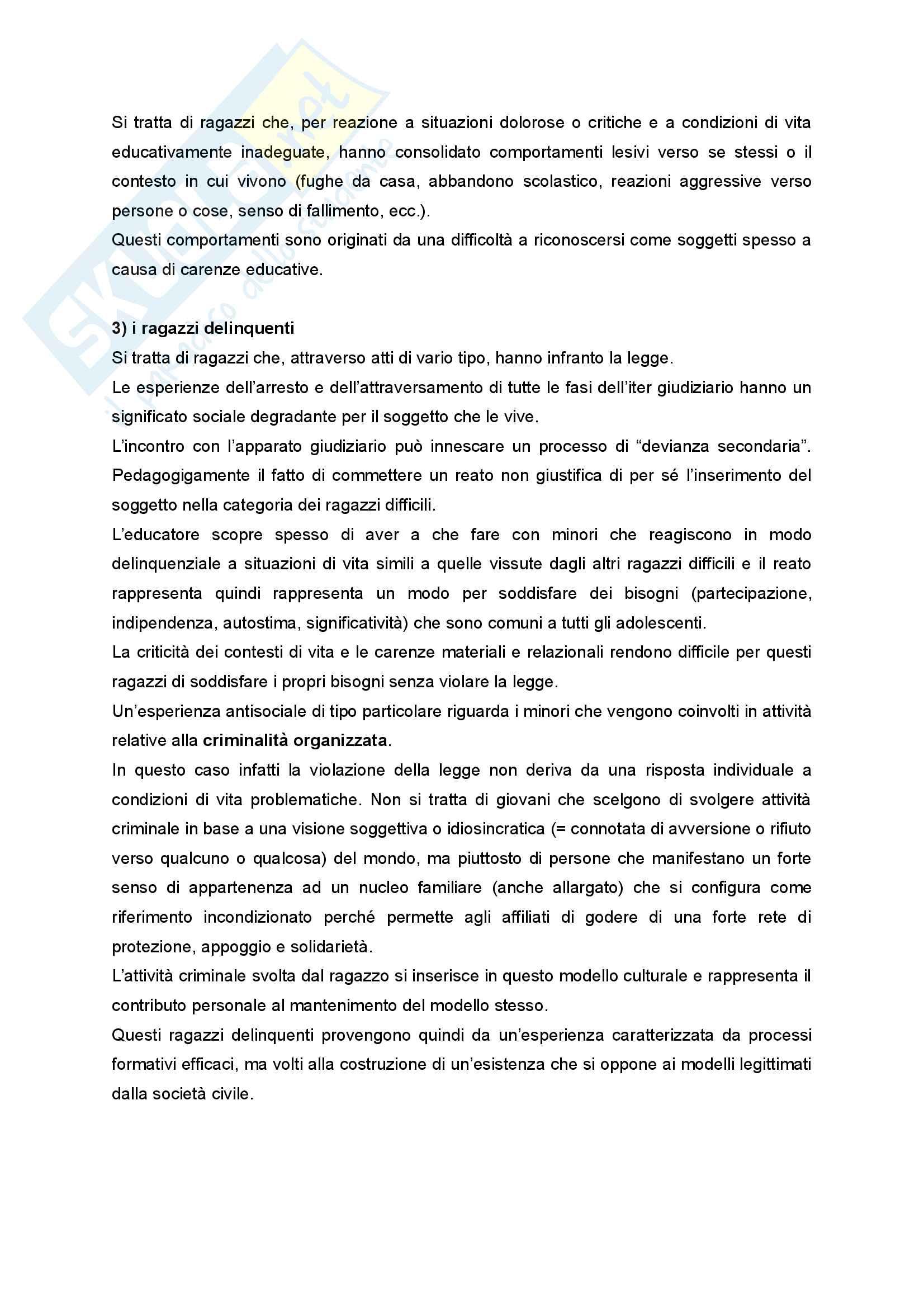 Riassunto esame Didattica e Pedagogia dell'inclusione con laboratorio, prof.ssa Palmieri, libro consigliato Ragazzi difficili. Pedagogie interpretative e metodologie di intervento Pag. 6