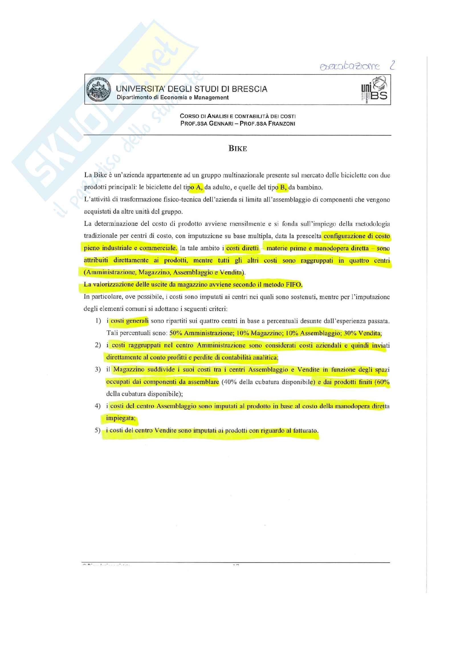 Esercitazioni analisi e contabilità dei costi