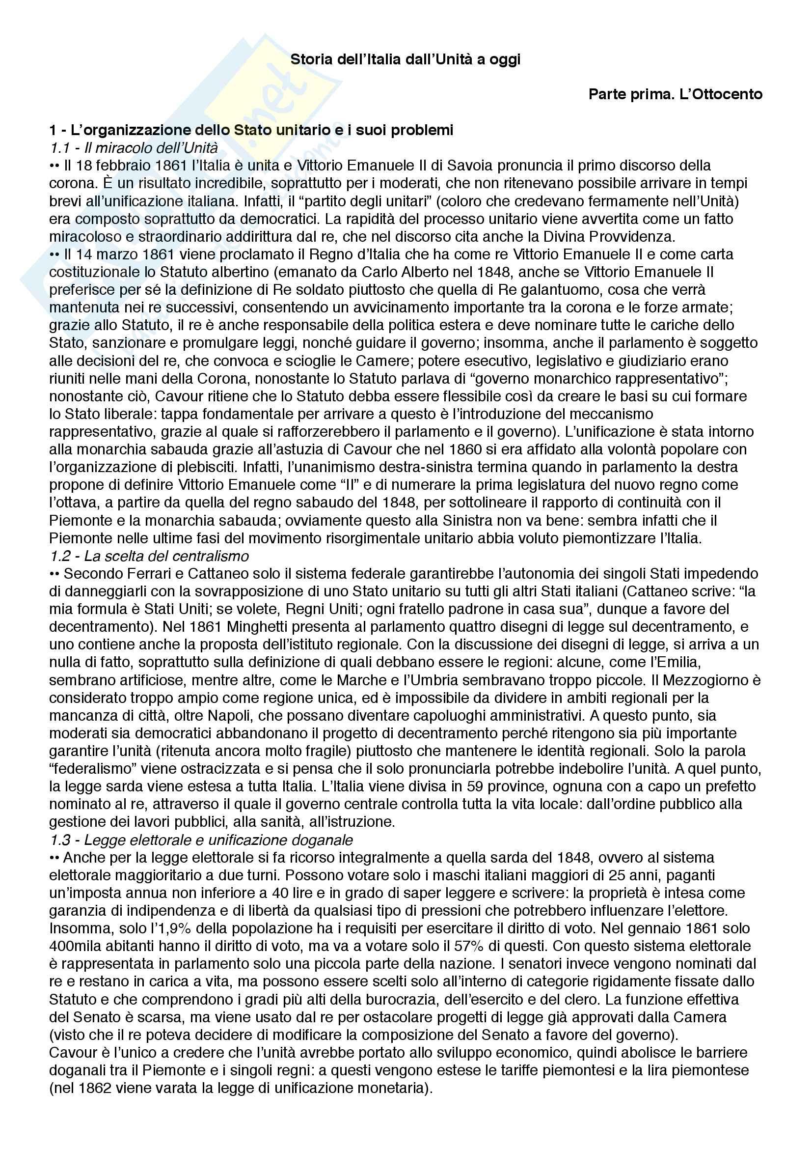 Riassunto esame Storia dell'Italia contemporanea, prof. Scornajenghi, libro consigliato Storia dell'Italia dall'Unità a oggi, Lepre, Petraccone