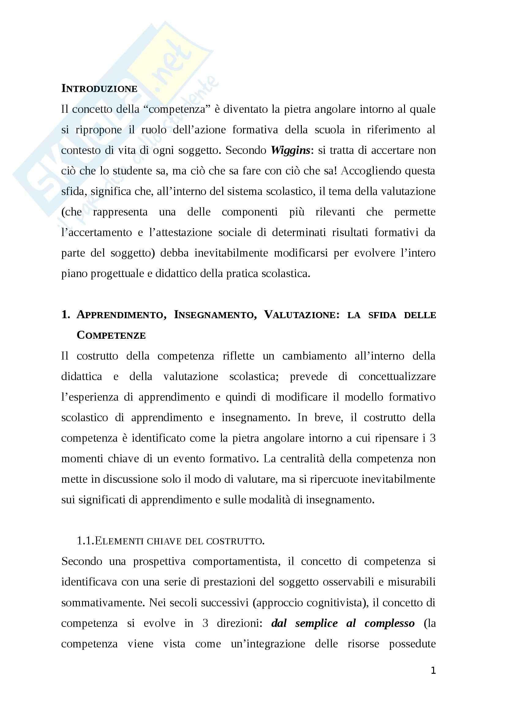 Riassunto esame Valutazione del sistema scolastico, prof. Castoldi, libro consigliato Valutare le Competenze. Percorsi e strumenti, Castoldi