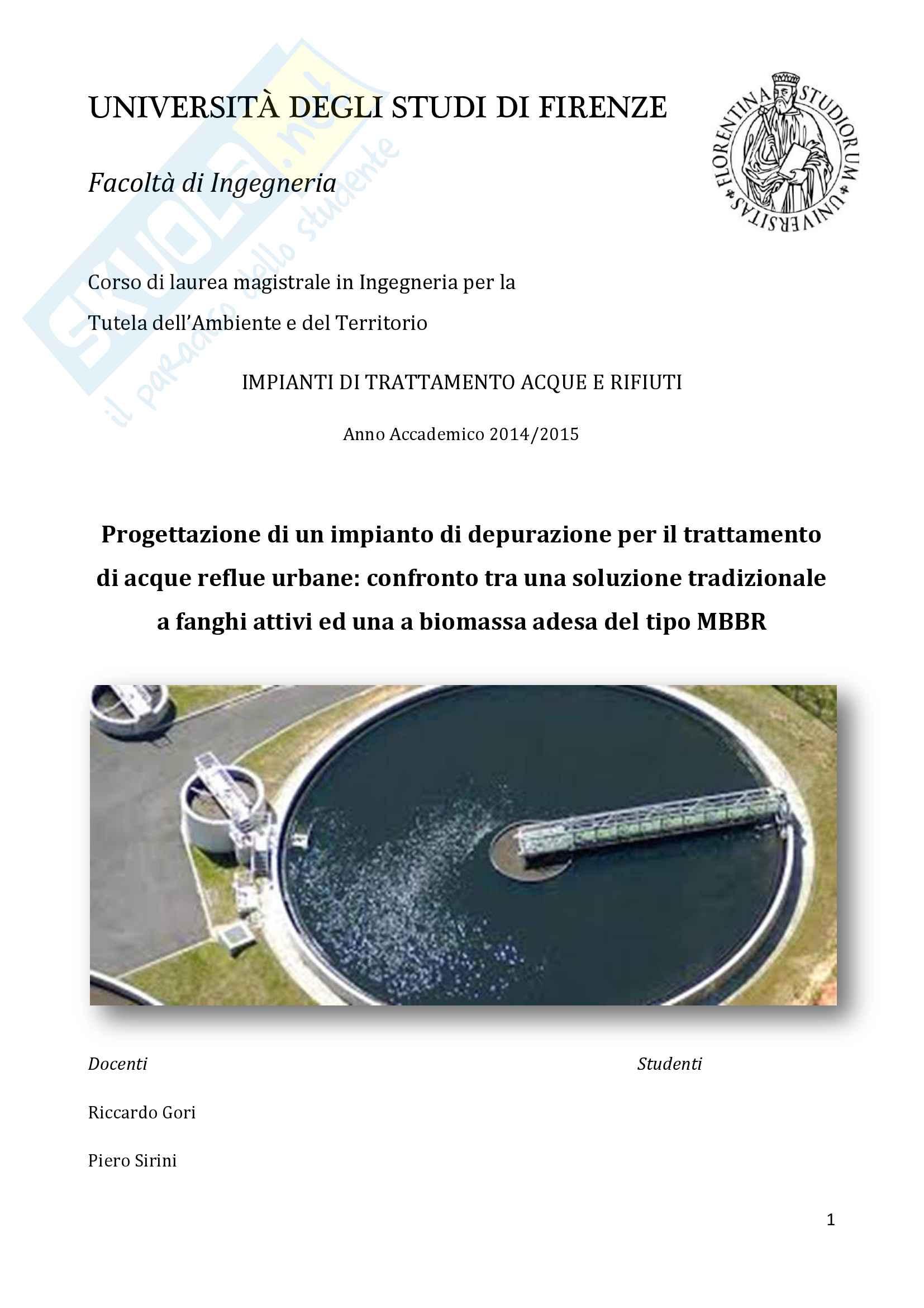 Impianti di trattamento acque e rifiuti - progetto di un impianto di depurazione di acque reflue urbane