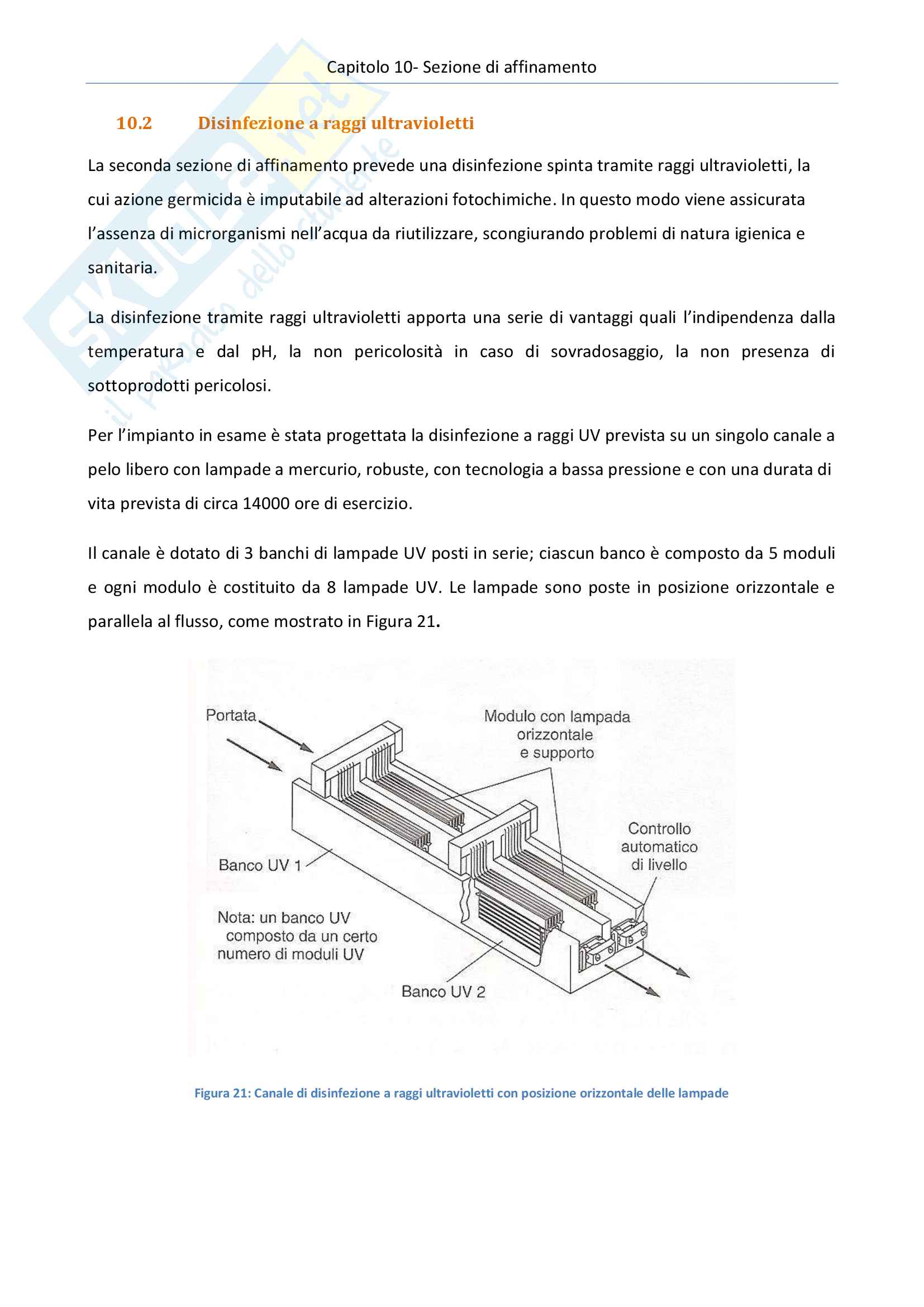 Impianti di trattamento acque e rifiuti - progetto di un impianto di depurazione di acque reflue urbane Pag. 66