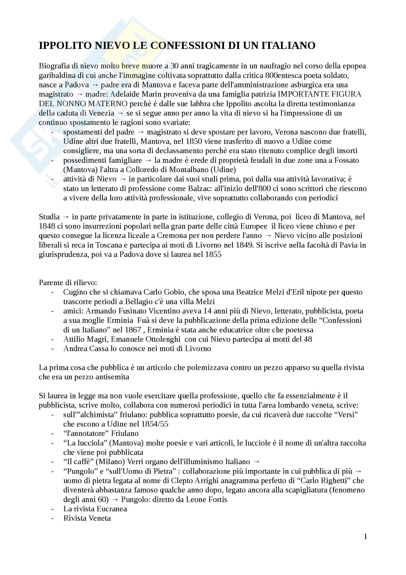 Letteratura italiana - Le confessioni di un italiano di Nievo