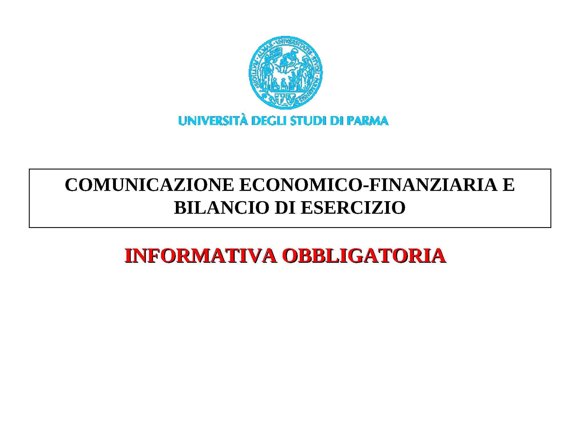 dispensa A. Tanzi Bilancio e comunicazione economico-finanziaria