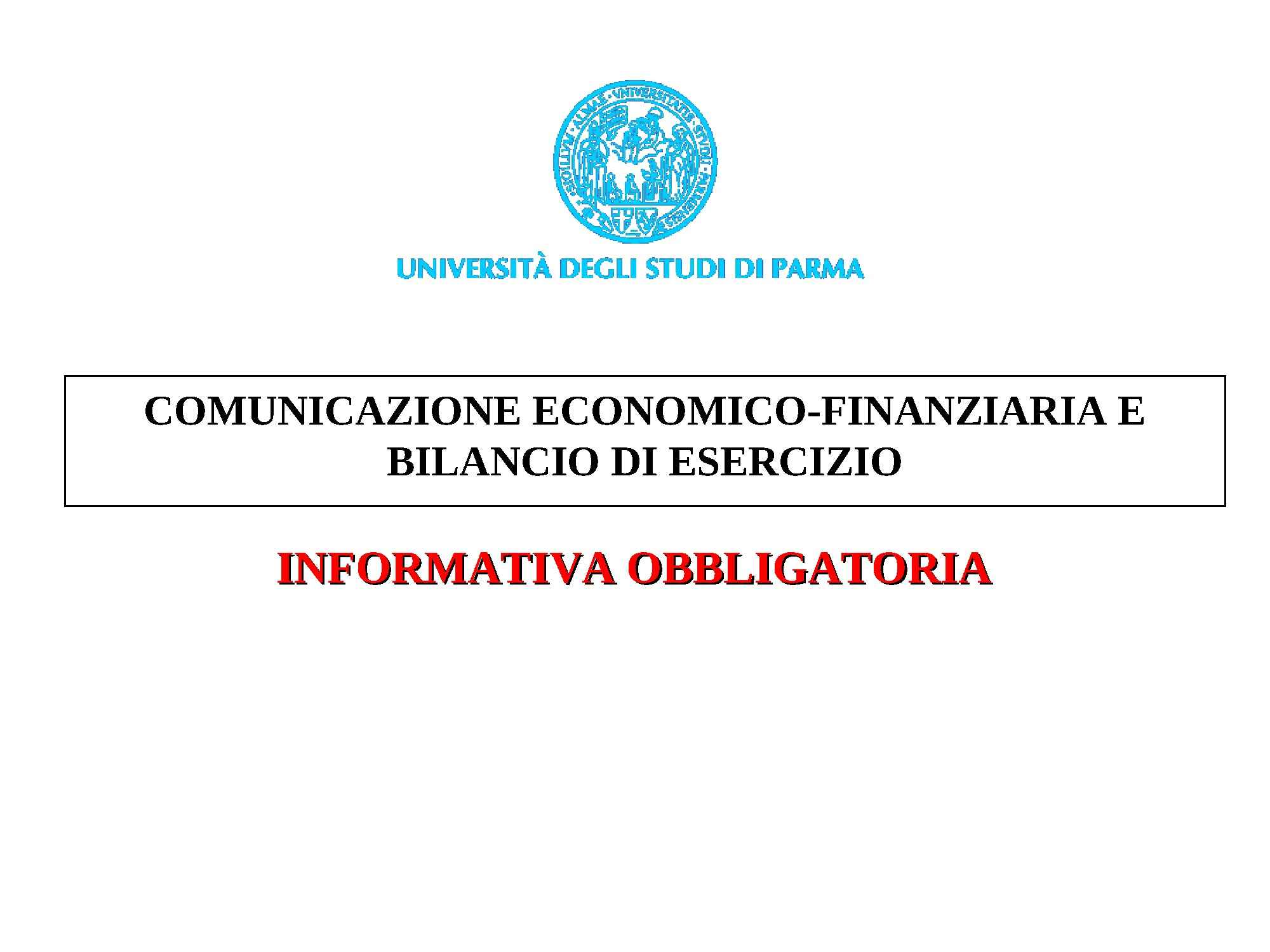 Informativa obbligatoria