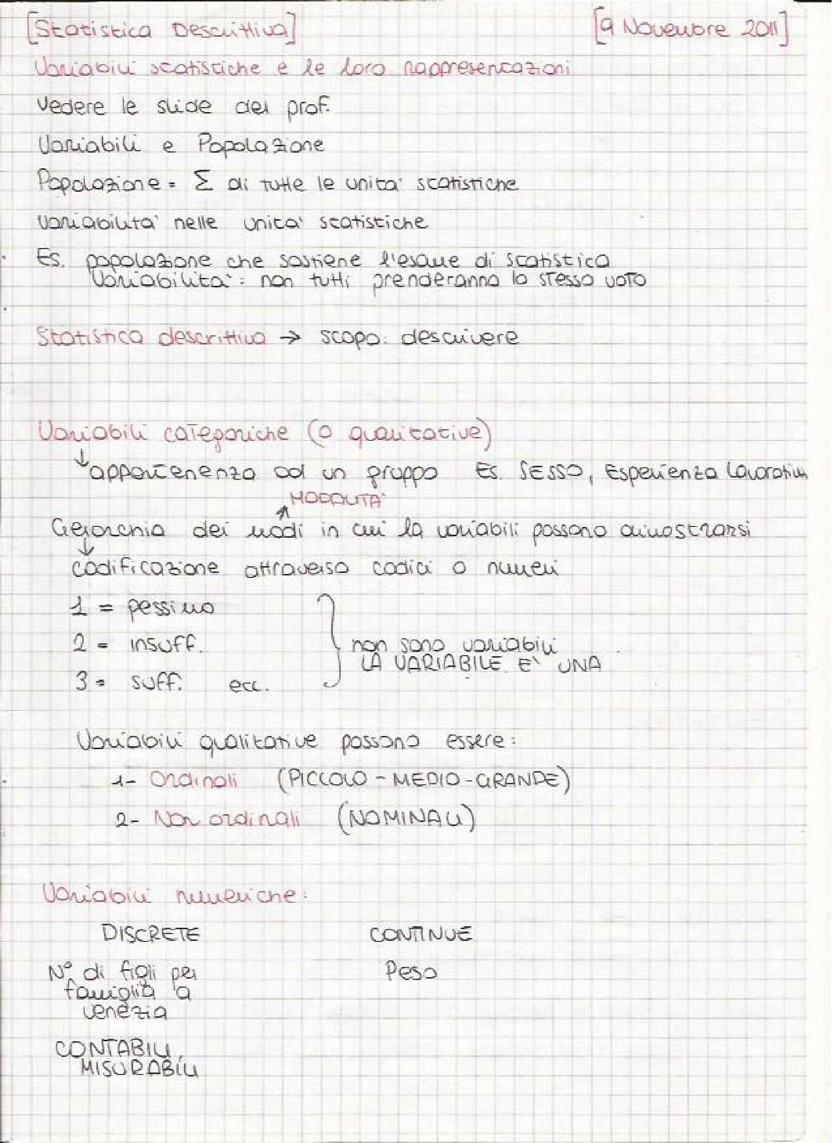 Statistica parte 2 - Appunti e Esercizi