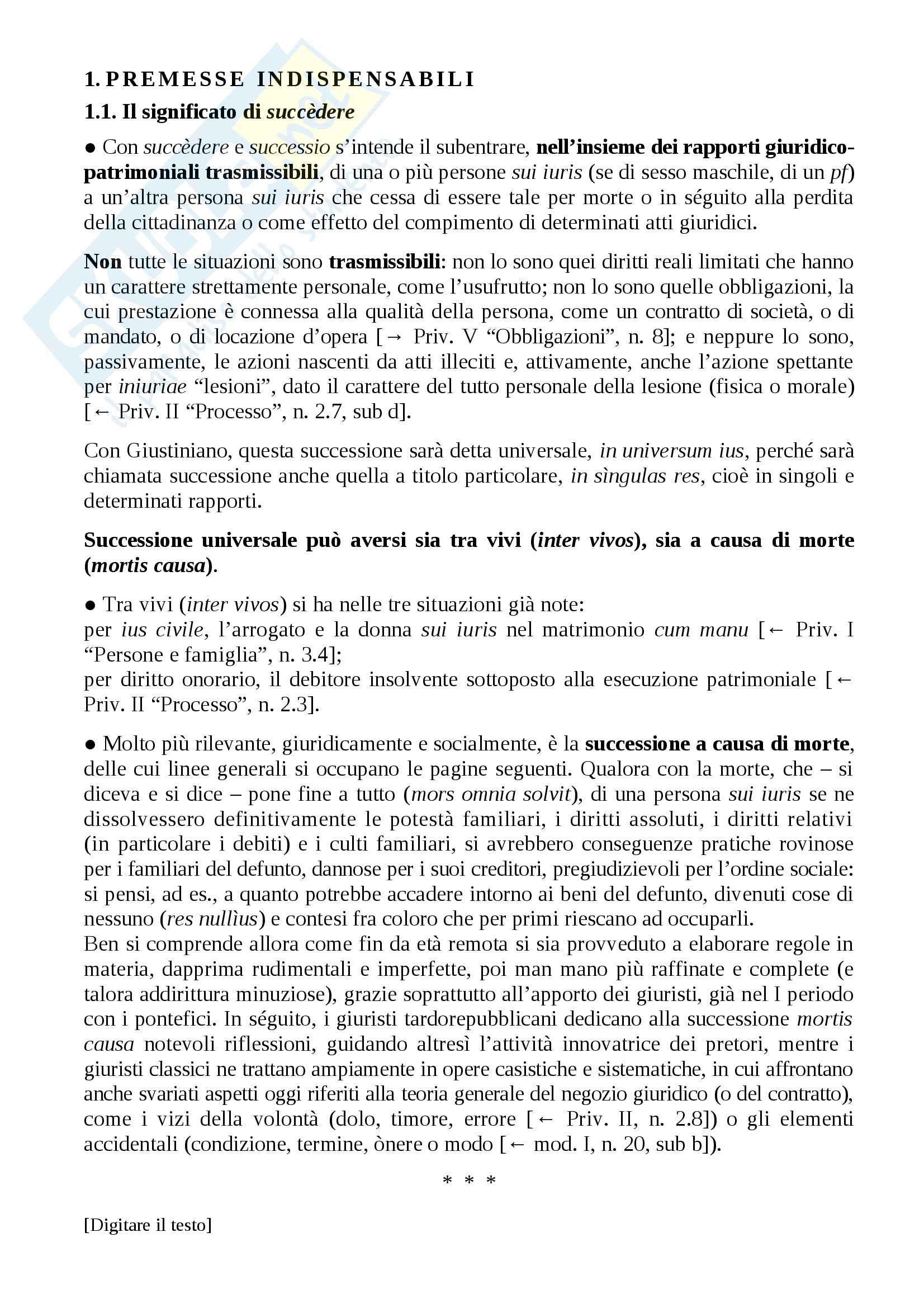Istituzioni di diritto romano - successioni