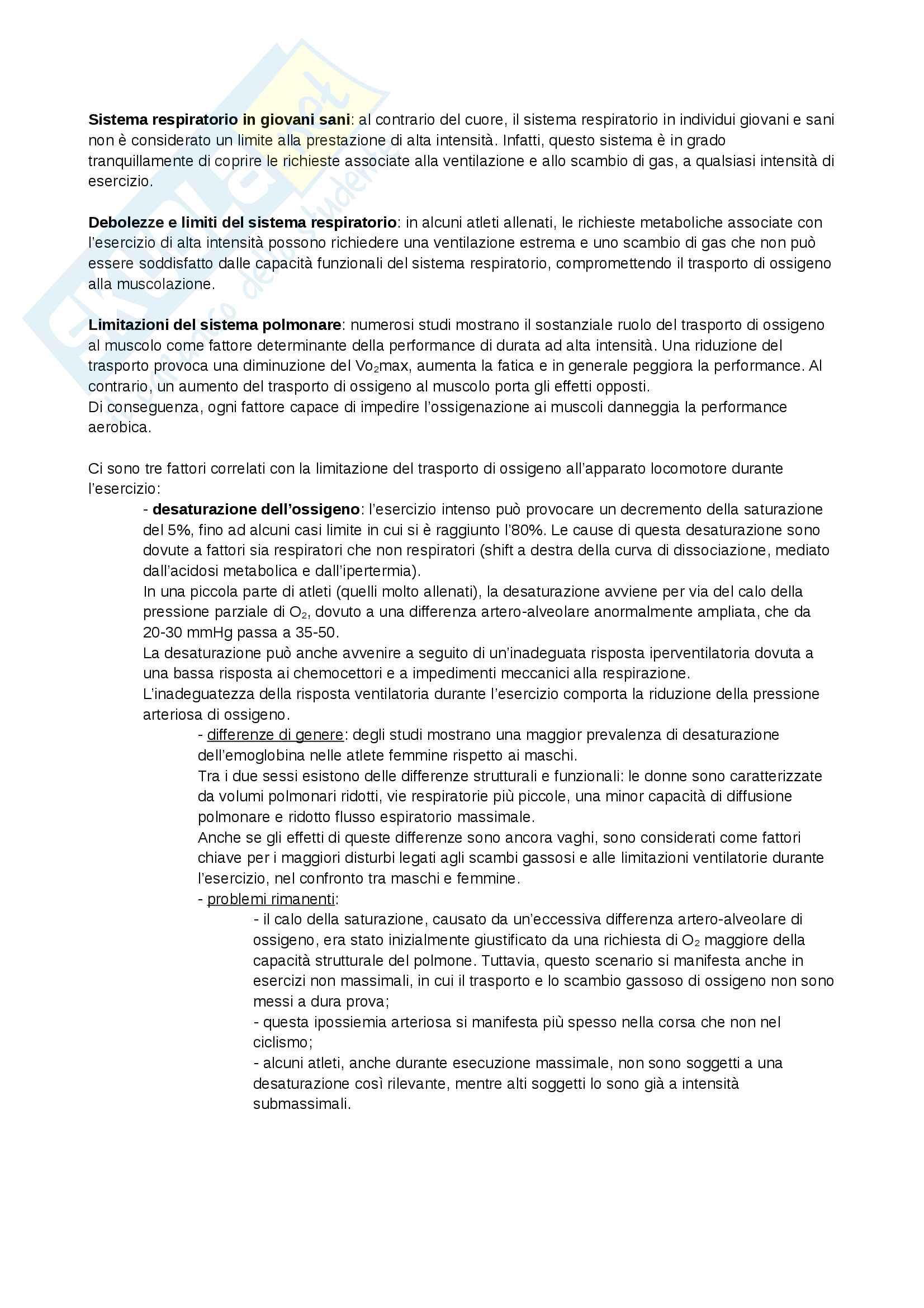 Appunti - Limitazioni del sistema polmonare durante lo sport