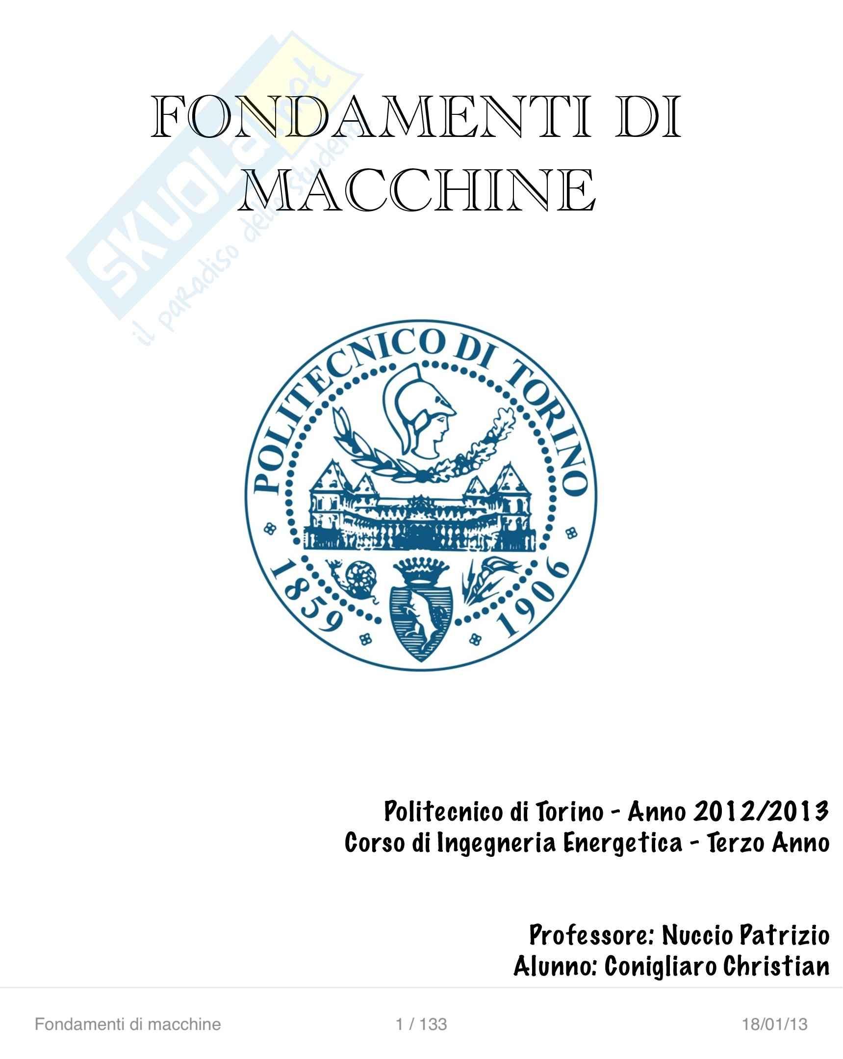 Lezioni ed esercitazioni: Appunti di Fondamenti macchine