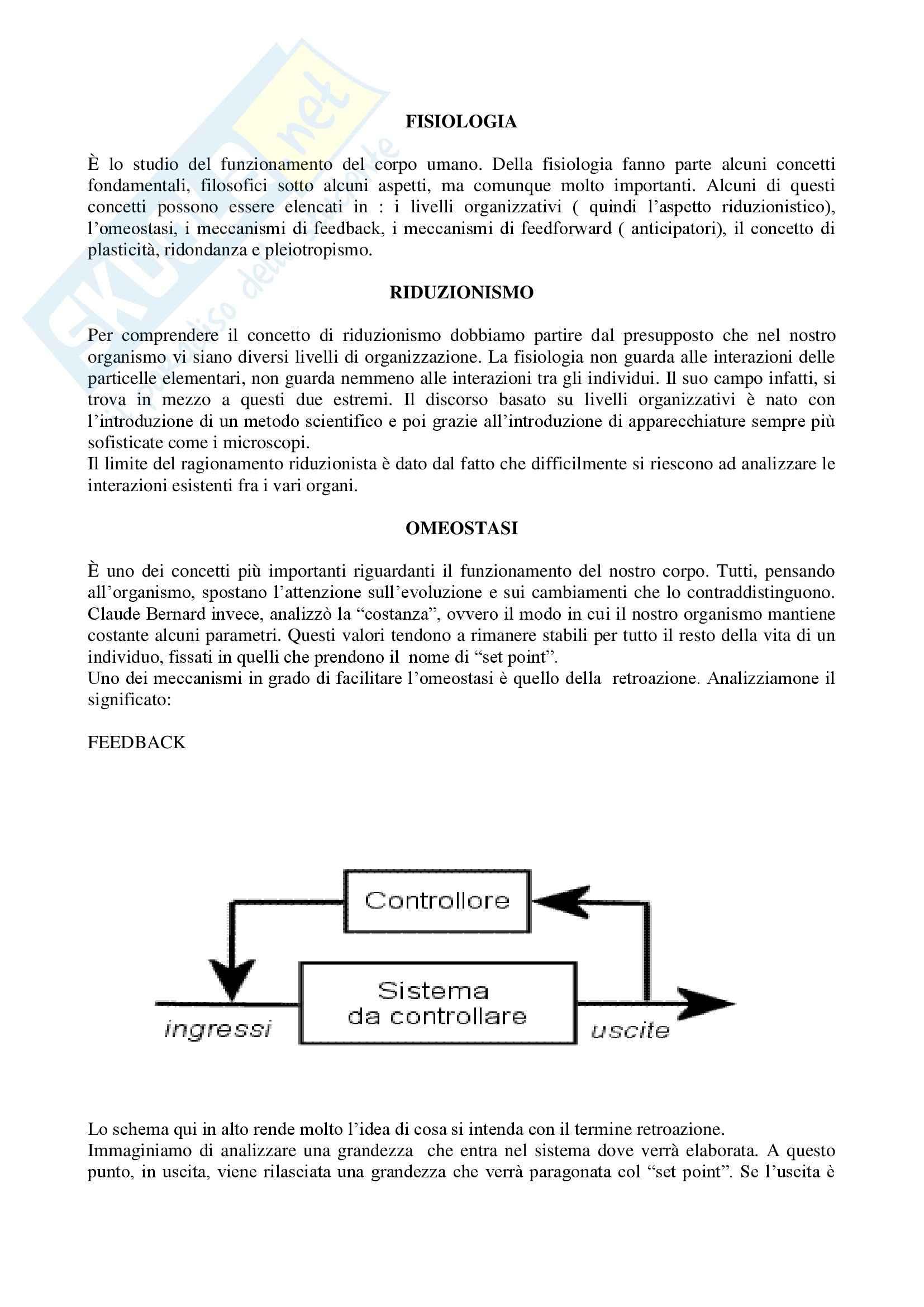 Fisiologia I - Introduzione alla fisiologia