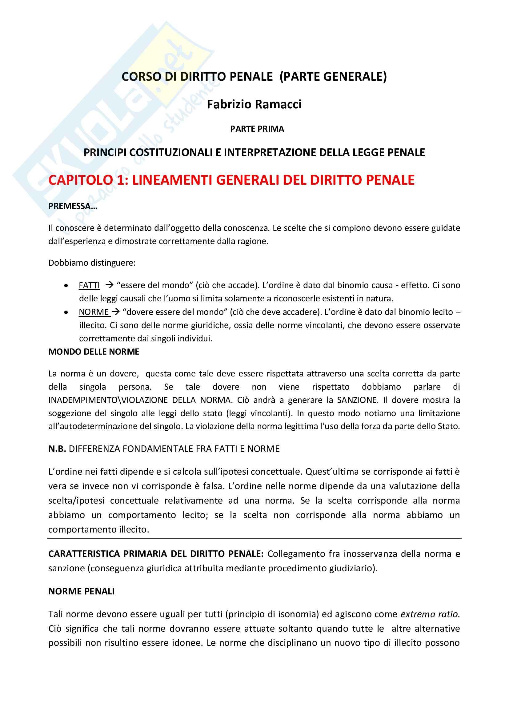 Riassunto esame Diritto penale parte generale, prof. Fiorella, libro consigliato Corso di diritto penale ( parte generale ), Ramacci