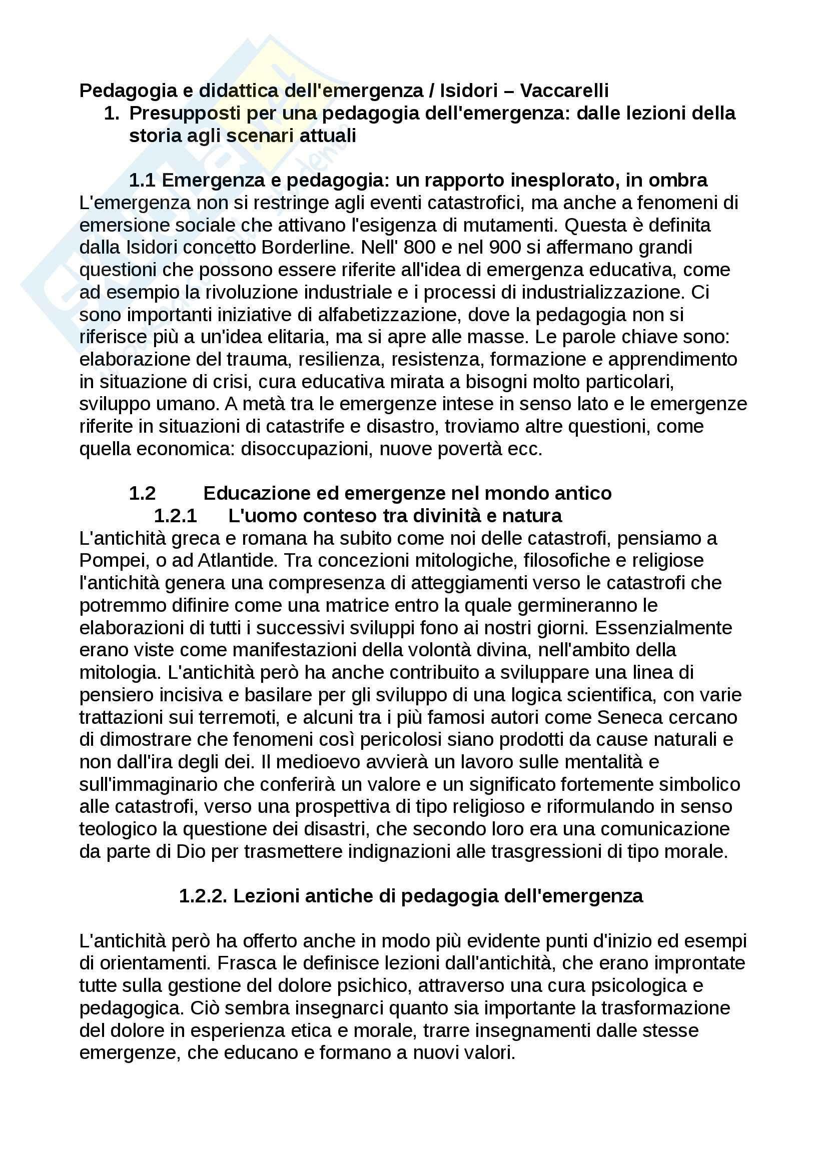 Riassunto esame Pedagogia, prof. Vaccarelli, libro consigliato Pedagogia e didattica dell'emergenza, Isidori, Vaccarelli