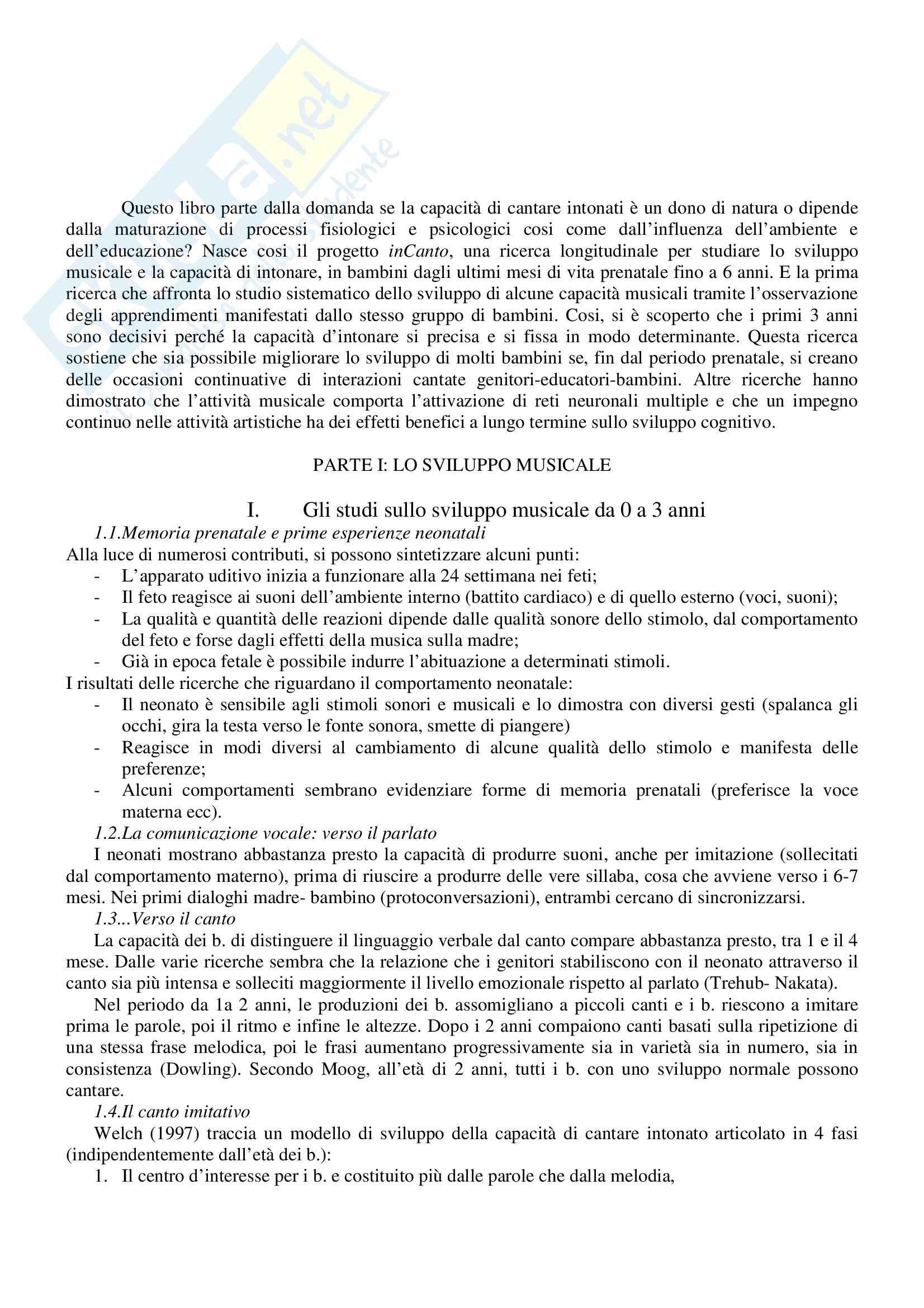 Riassunto esame Musicologia, prof. Bianchini, libro consigliato Nascere Musicali, Tafuri