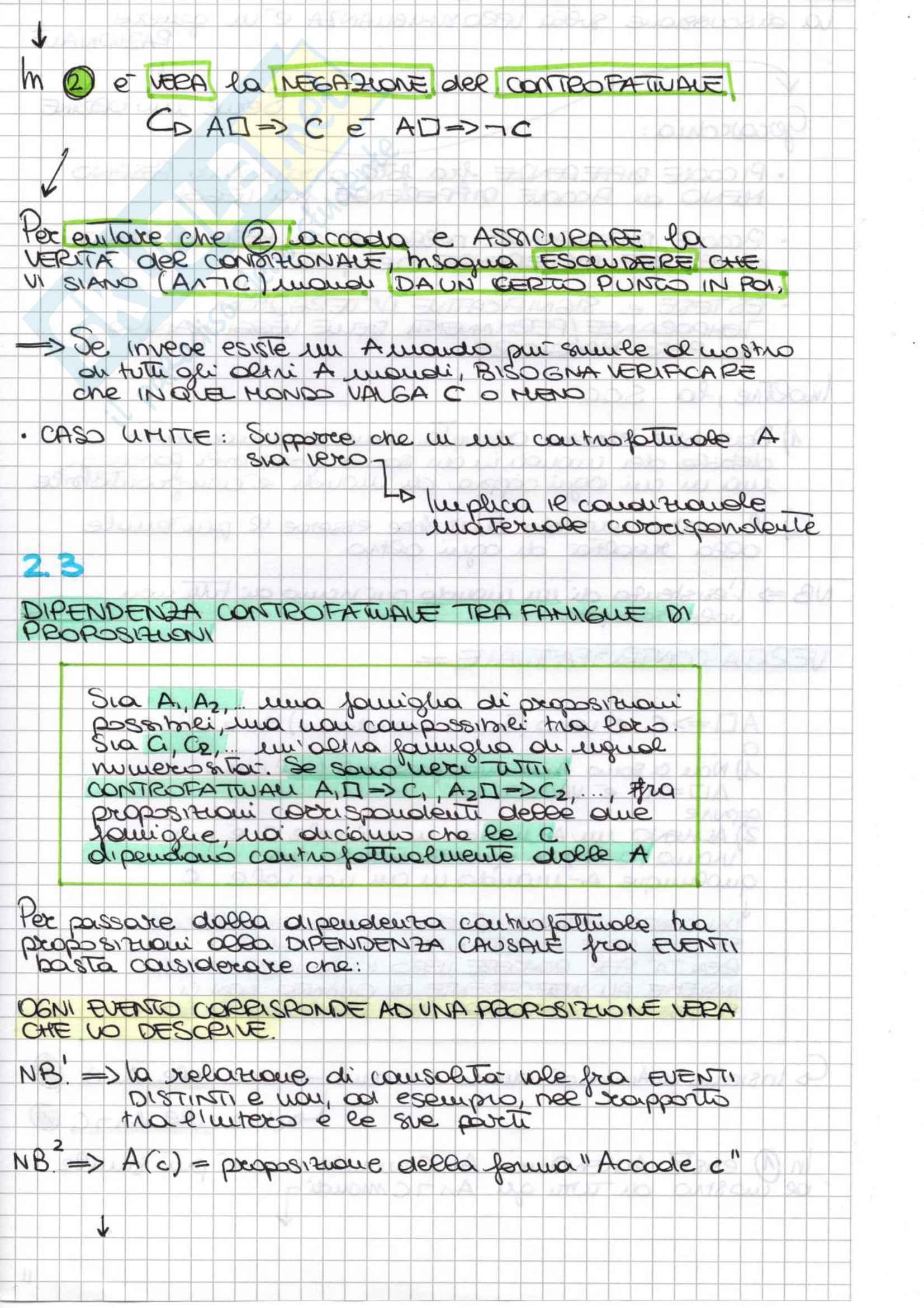 Riassunto esame Filosofia Delle Scienze Sociali, prof. Miraglia, libro consigliato Introduzione alla teoria controfattuale della causalità, Miraglia Pag. 16
