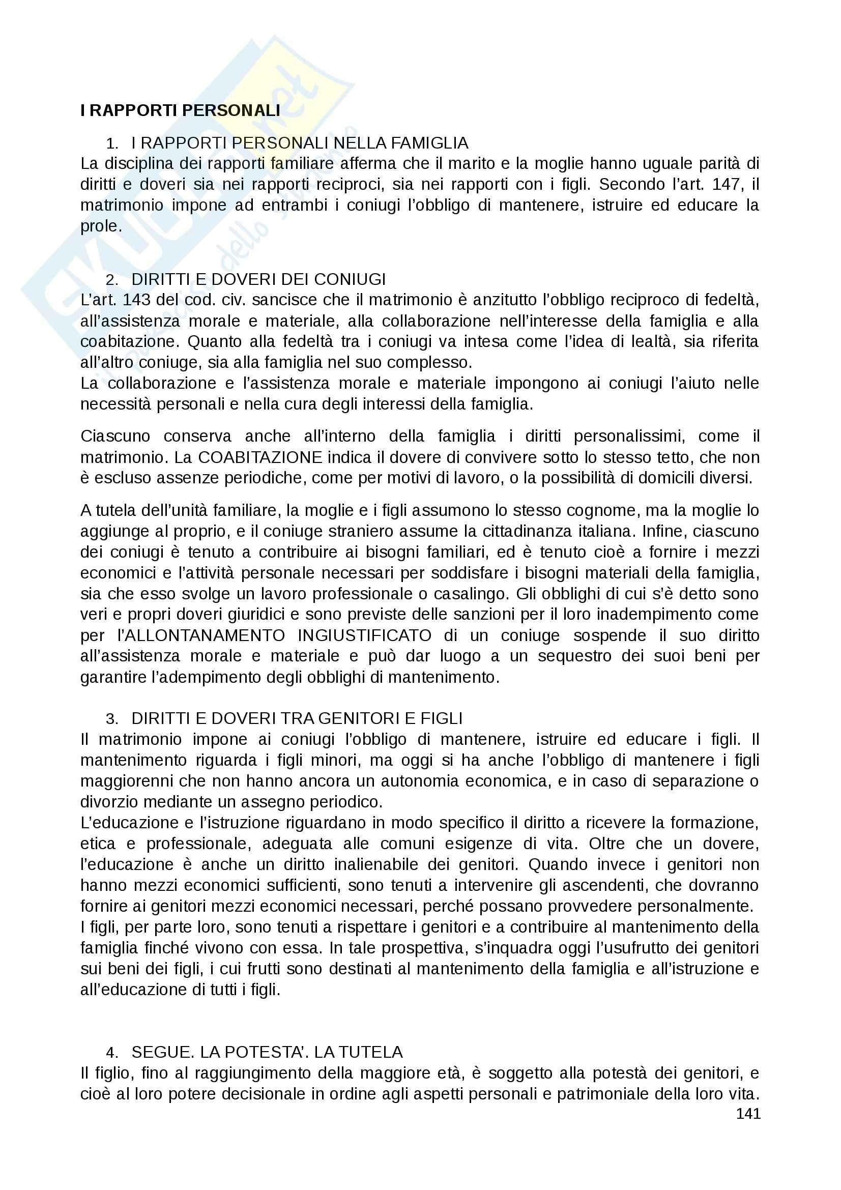 Riassunto esame Diritto Privato, prof. Fernandez, libro consigliato Istituzioni di diritto privato, Paradiso M., Giappichelli Pag. 141