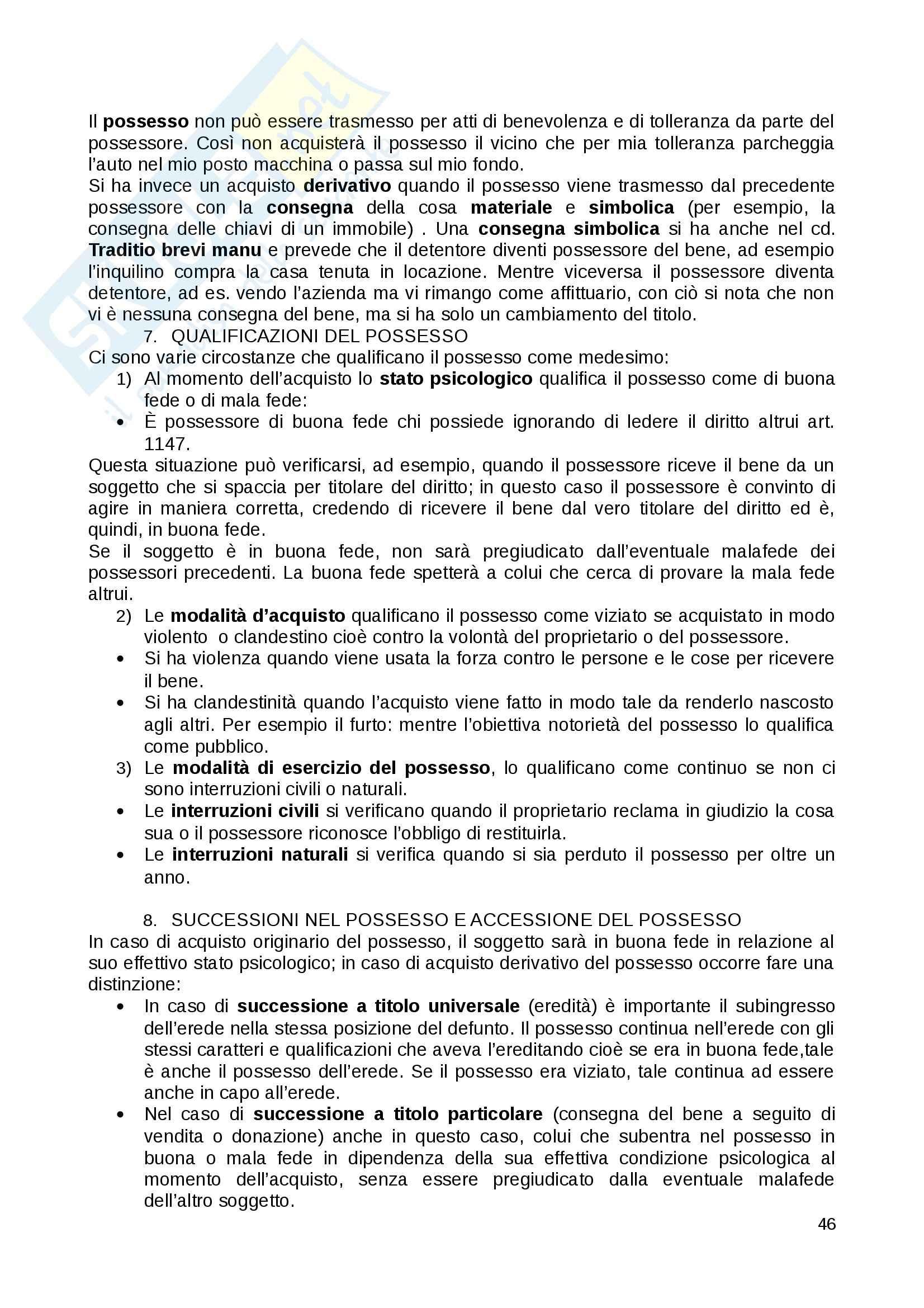 Riassunto esame Diritto Privato, prof. Fernandez, libro consigliato Istituzioni di diritto privato, Paradiso M., Giappichelli Pag. 46