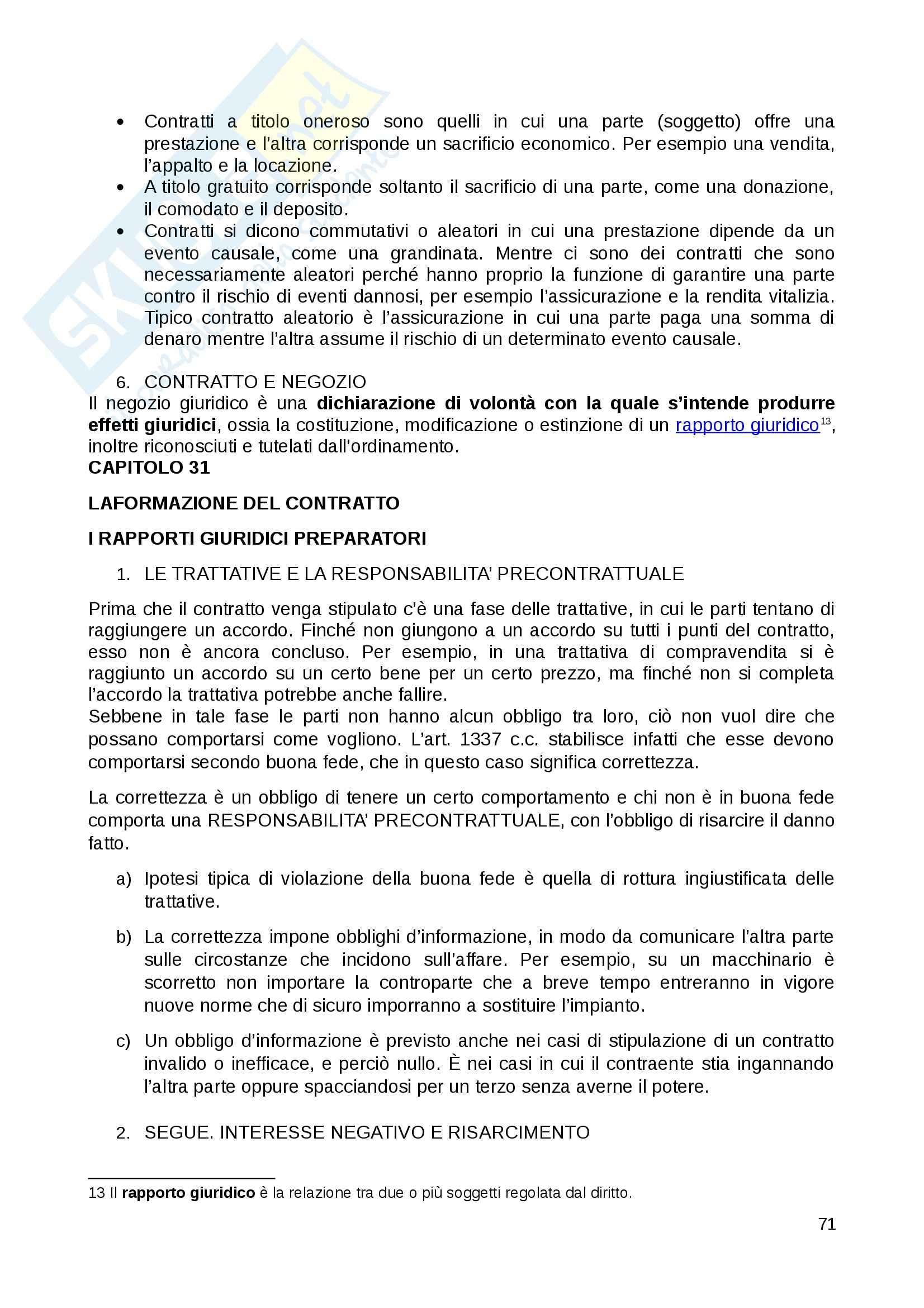 Riassunto esame Diritto Privato, prof. Fernandez, libro consigliato Istituzioni di diritto privato, Paradiso M., Giappichelli Pag. 71