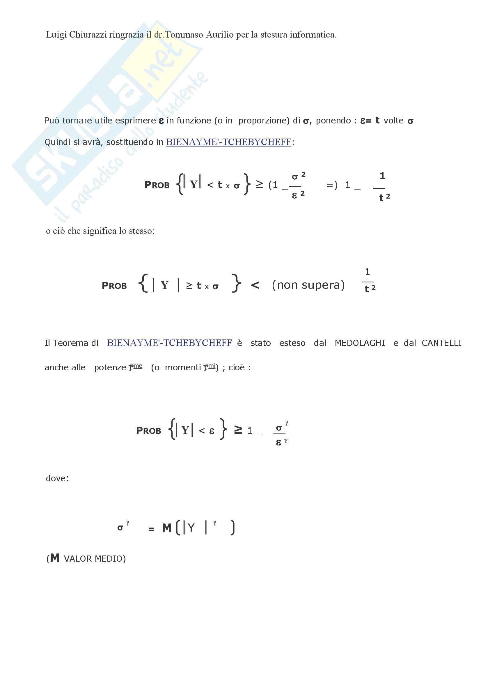 Matematica finanziaria - il teorema di Bienayme / Tchebycheff