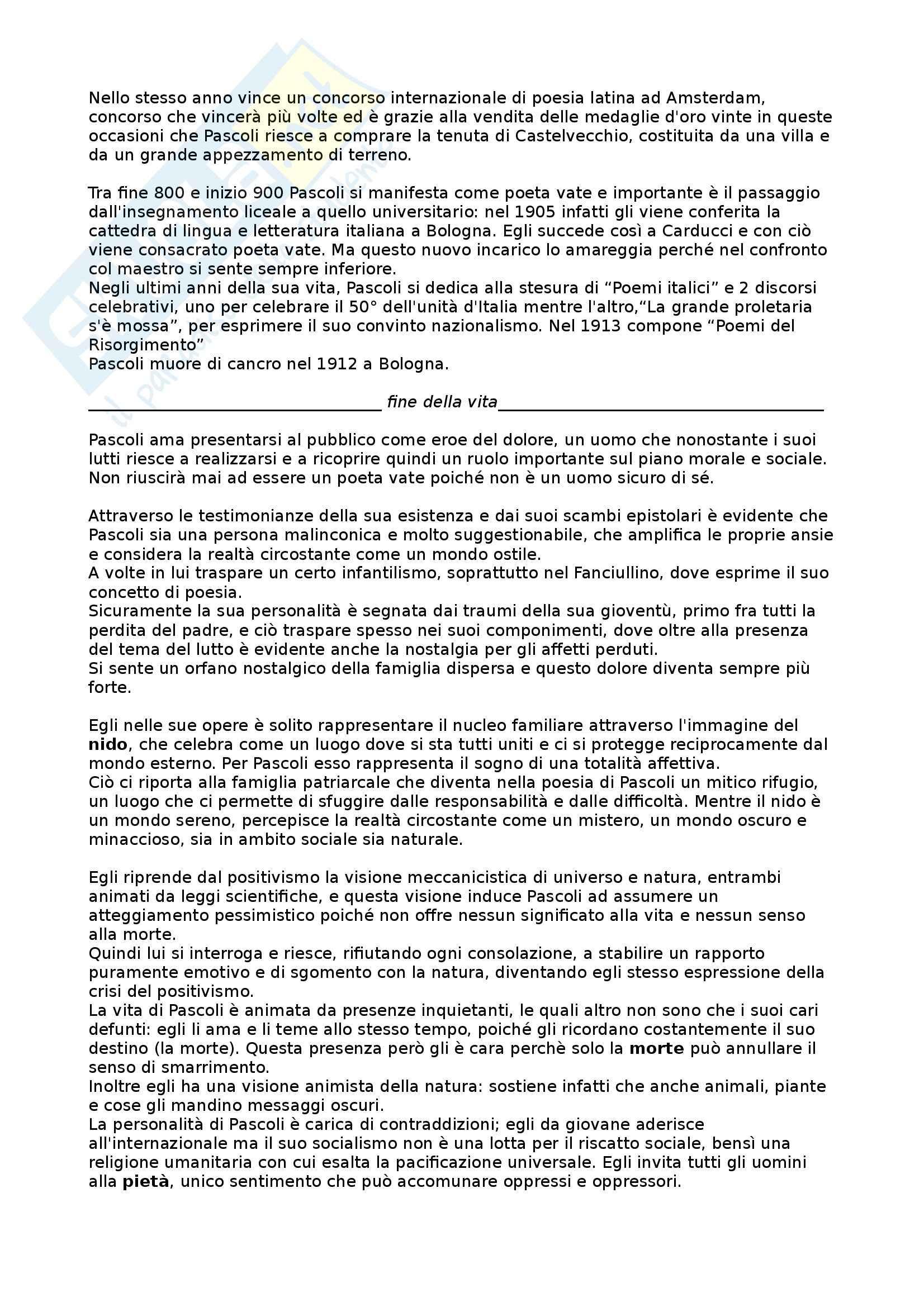 Giovanni Pascoli Vita - Pensiero - Opere analizzate - Appunti Pag. 2