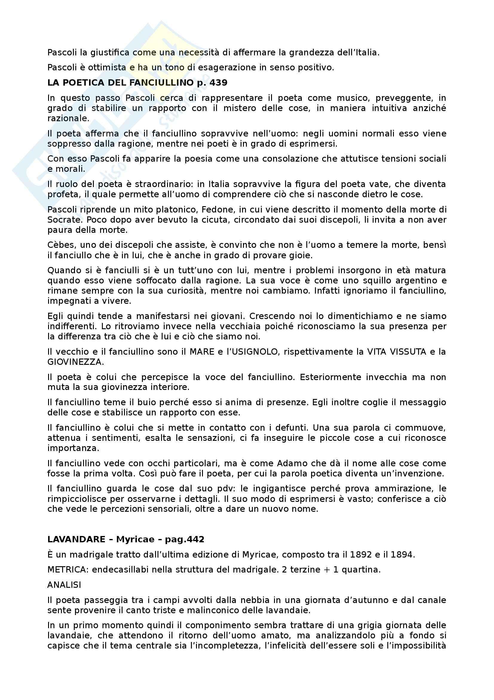 Giovanni Pascoli Vita - Pensiero - Opere analizzate - Appunti Pag. 6