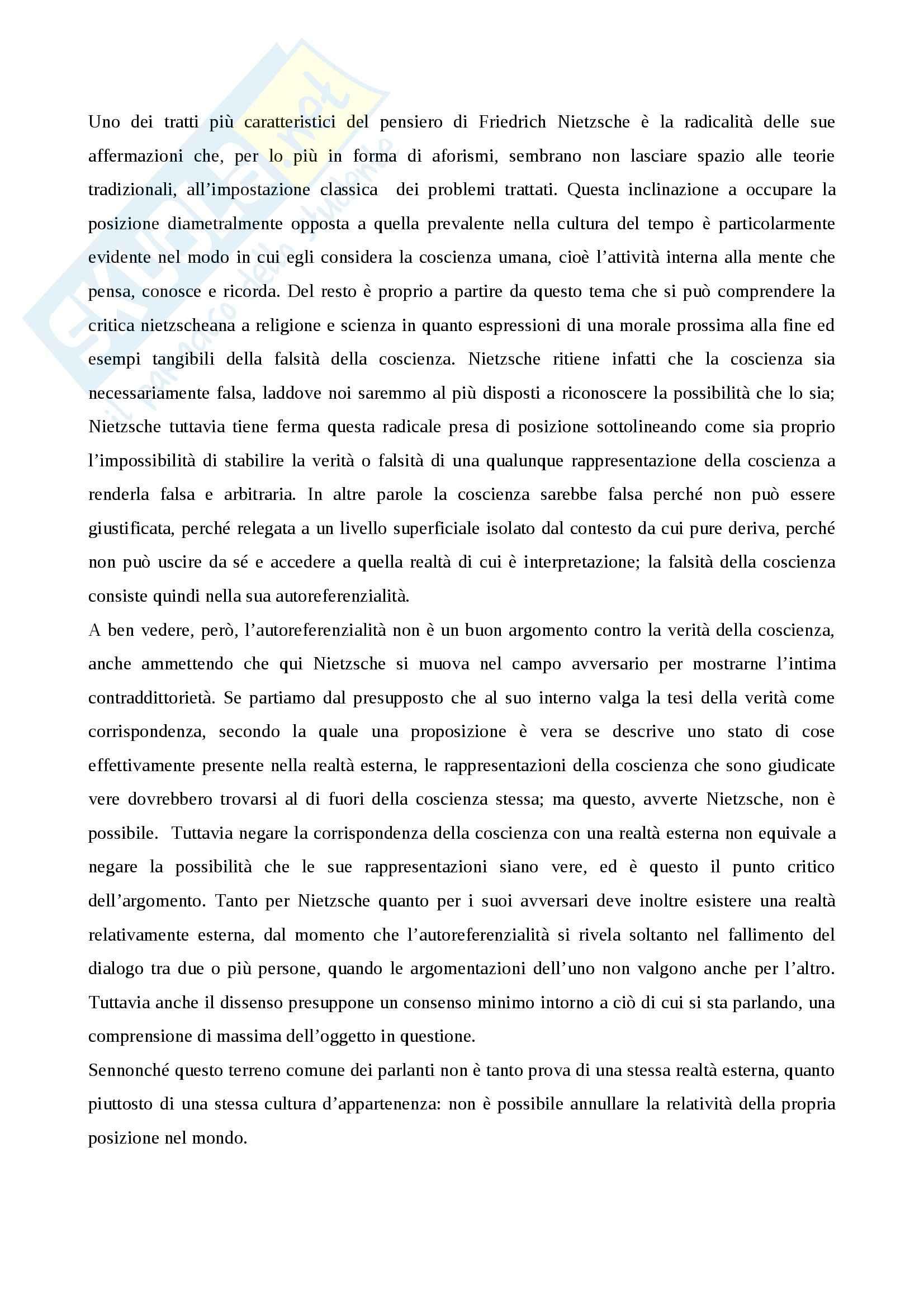 Ermeneutica filosofica - Nietzsche e il tema della coscienza