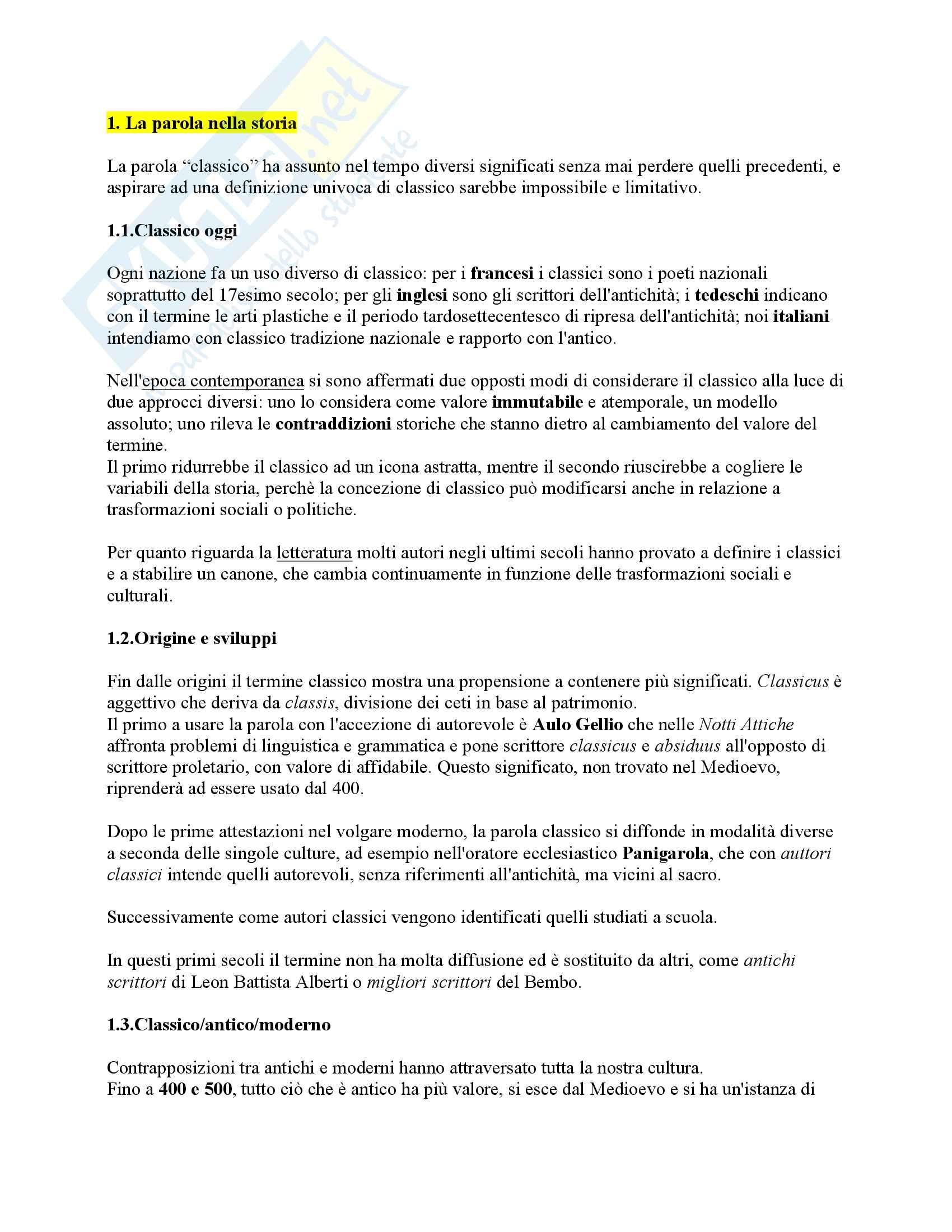 """Riassunto esame Letteratura Italiana, docente Verdino, libro consigliato """"Classico, storia di una parola"""", Tatti"""