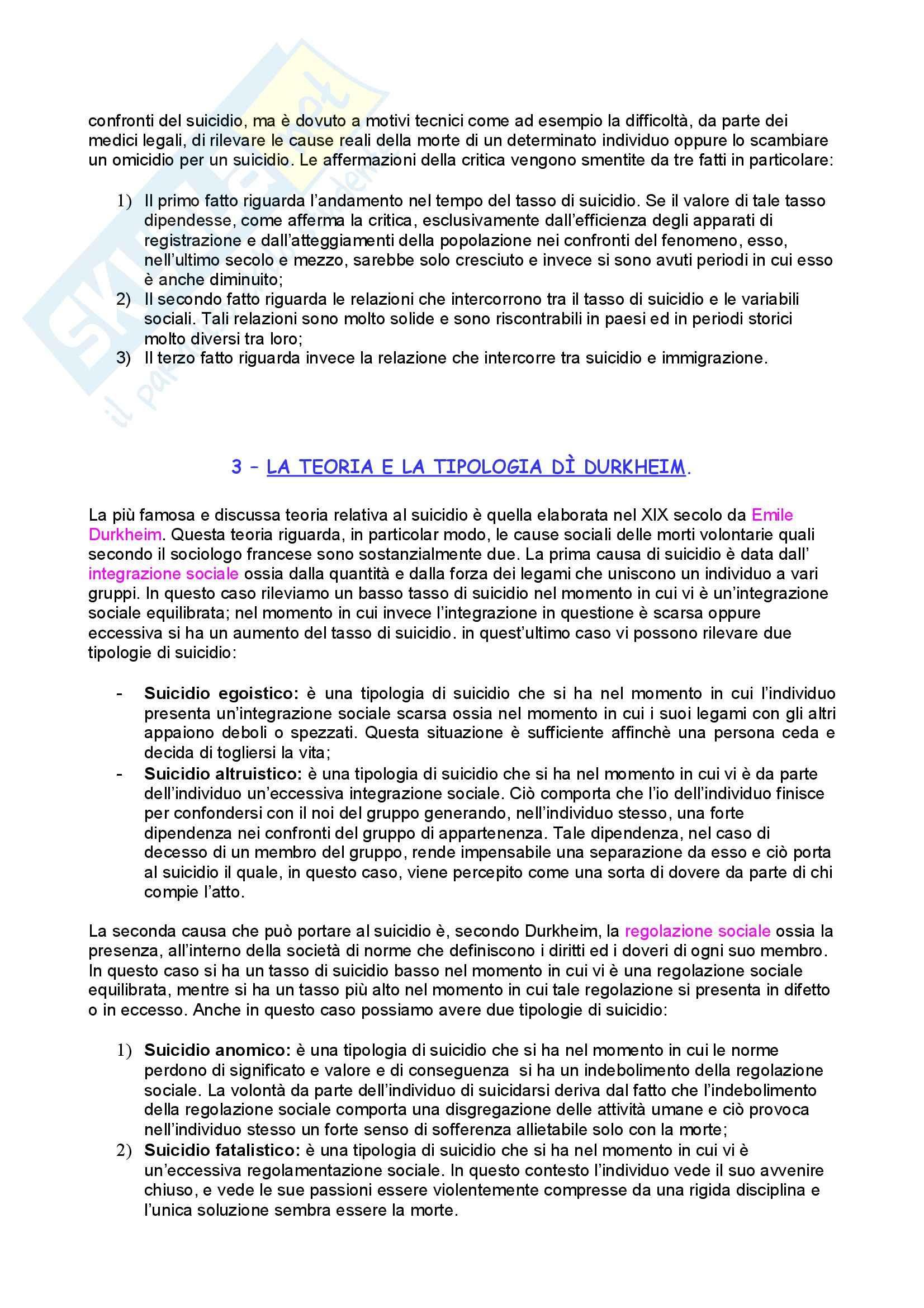 Sociologia criminale – Sociologia della devianza – Suicidio Pag. 2