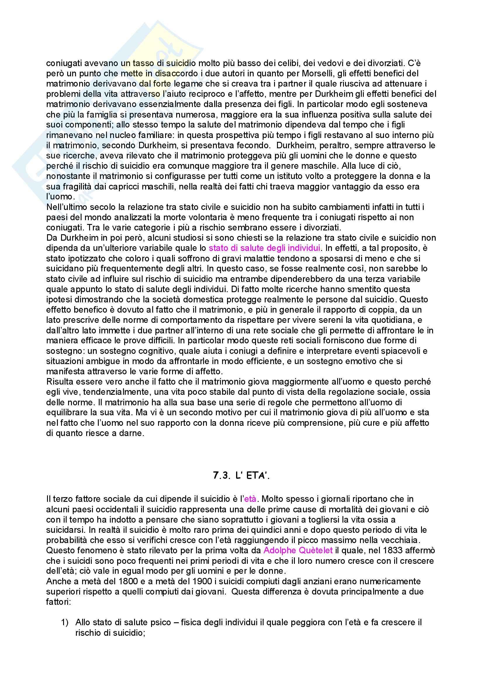 Sociologia criminale – Sociologia della devianza – Suicidio Pag. 6
