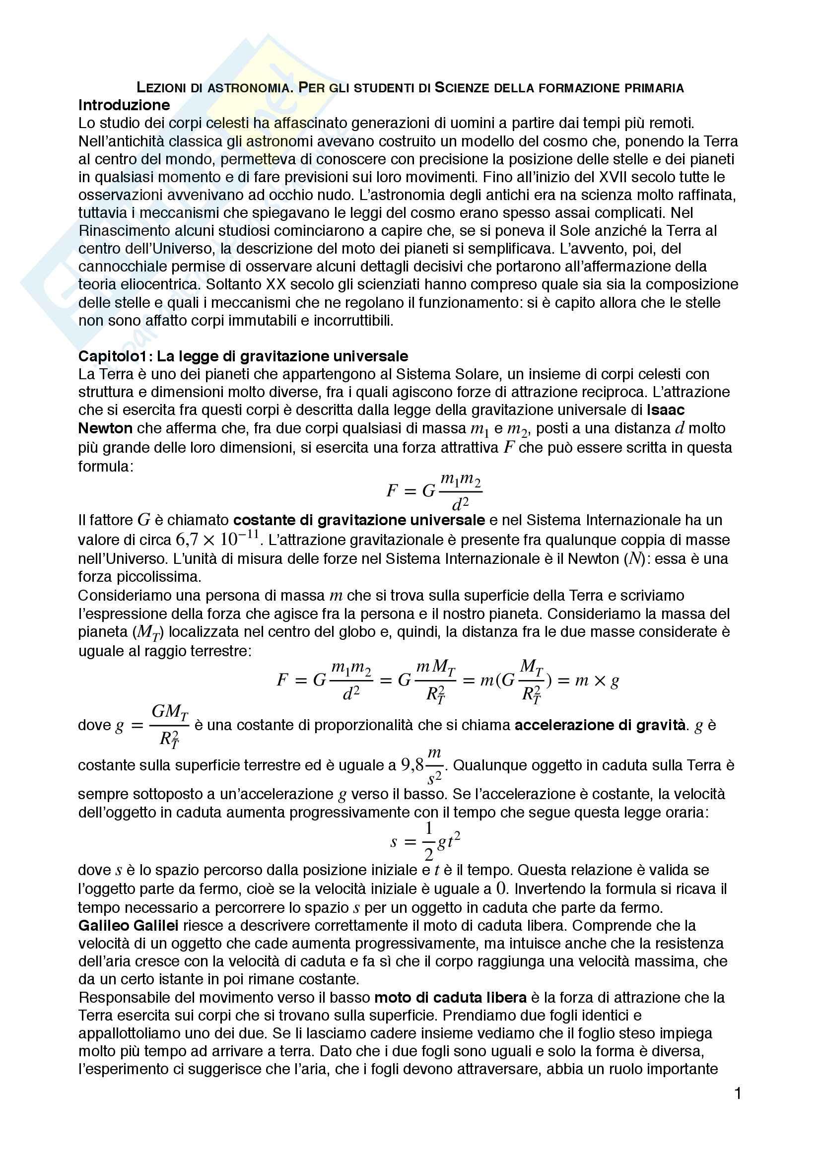 Riassunto esame fisica sperimentale, prof. Straulino, libro consigliato Lezioni di astronomia. Per gli studenti di Scienze della formazione primaria, Straulino