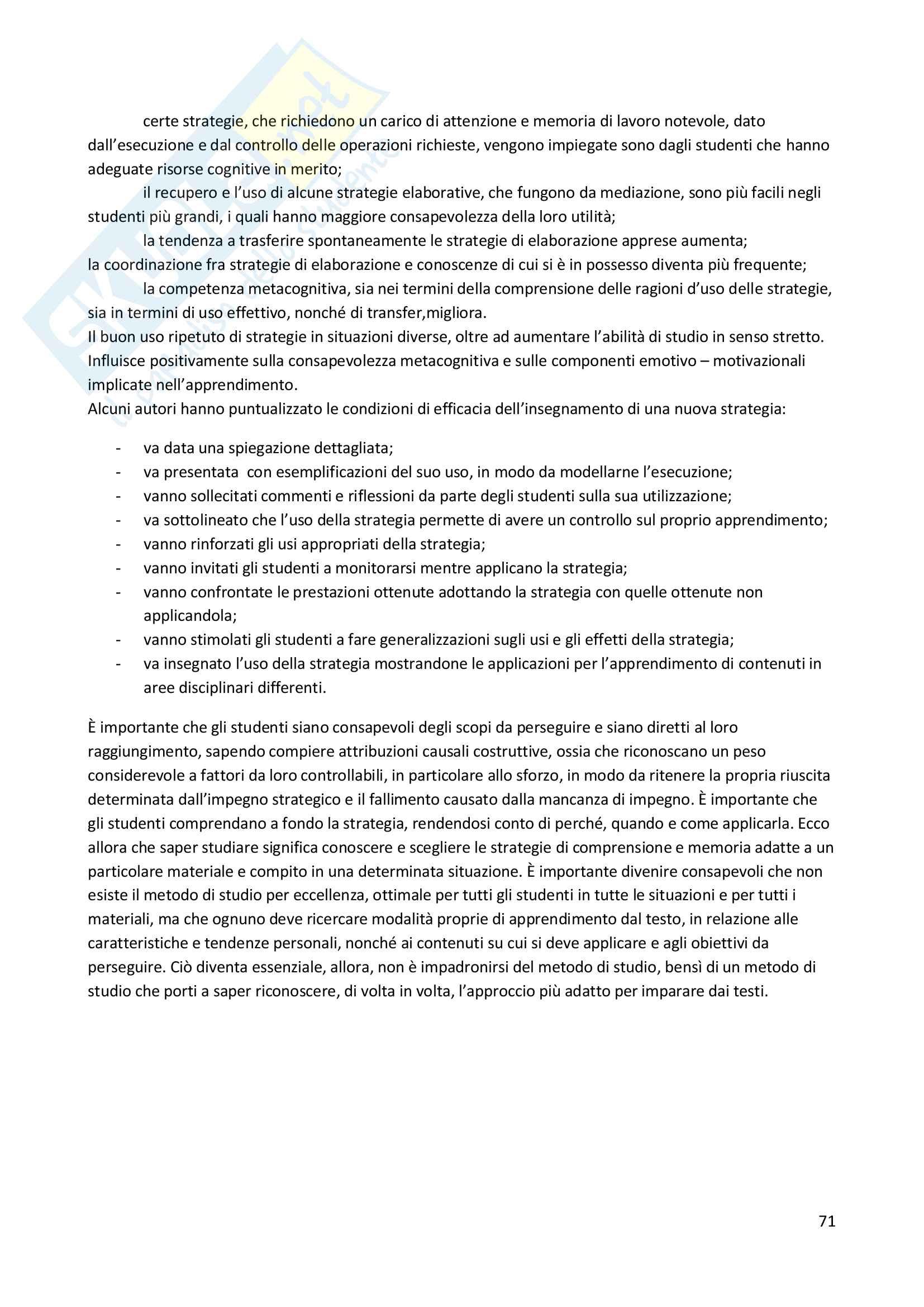 """Riassunto esame """"Psicologia dell'educazione"""" , prof. Gelati, libro consigliato """"Psicologia dell'apprendimento e dell'istruzione"""", Mason Pag. 71"""