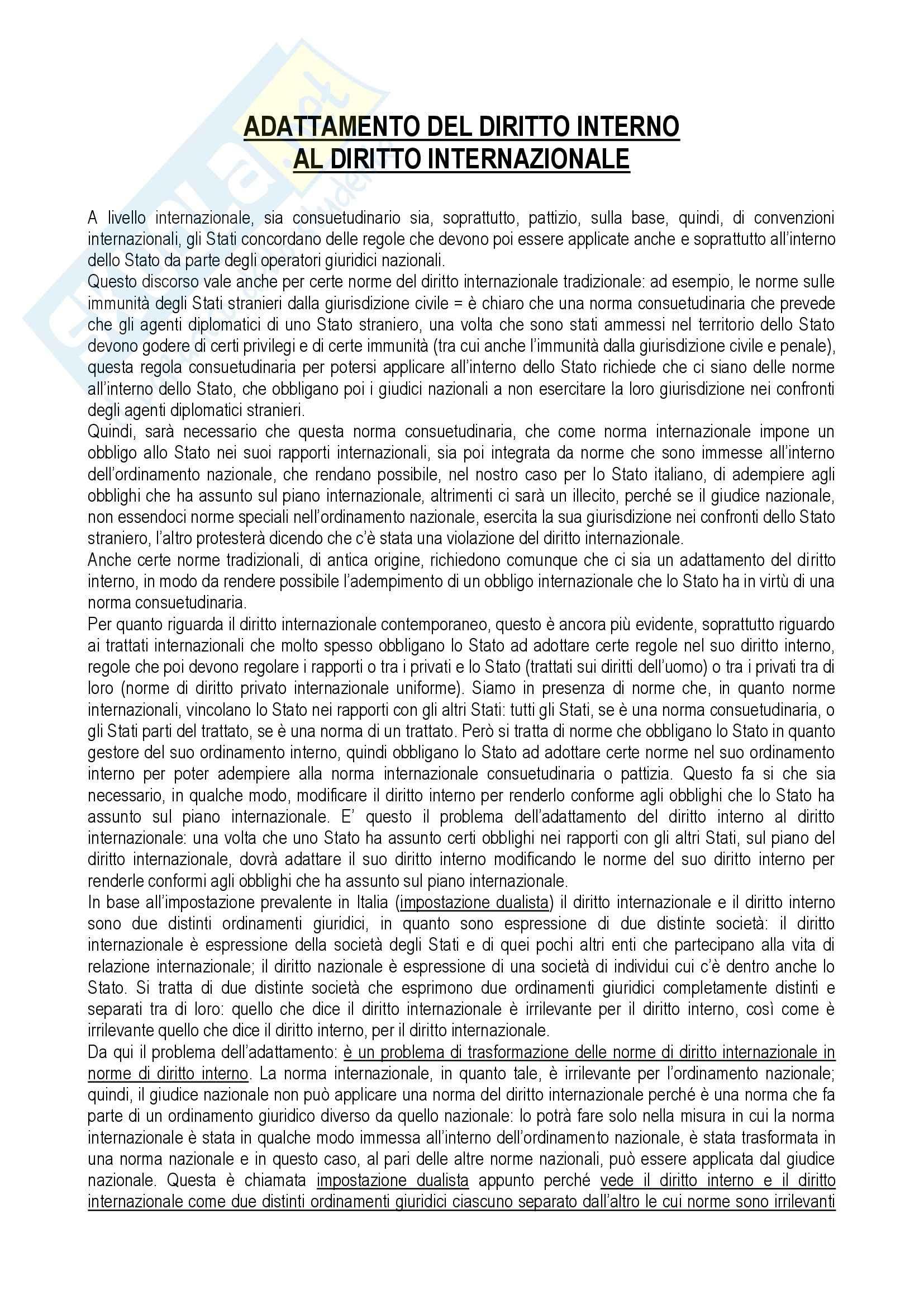 Diritto internazionale - adattamento del diritto interno al diritto internazionale