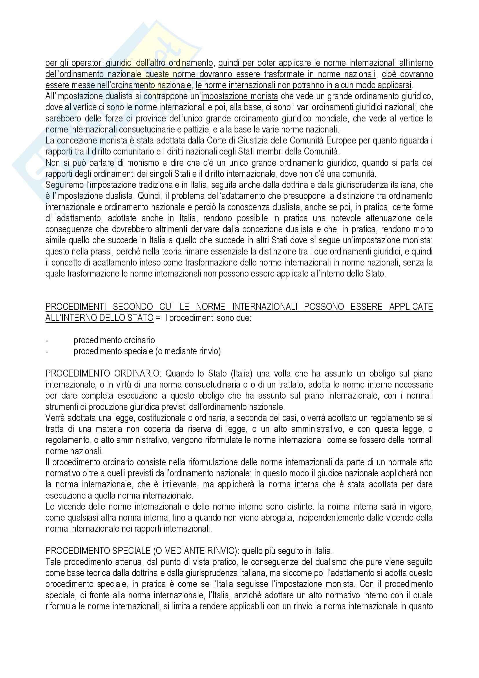 Diritto internazionale - adattamento del diritto interno al diritto internazionale Pag. 2
