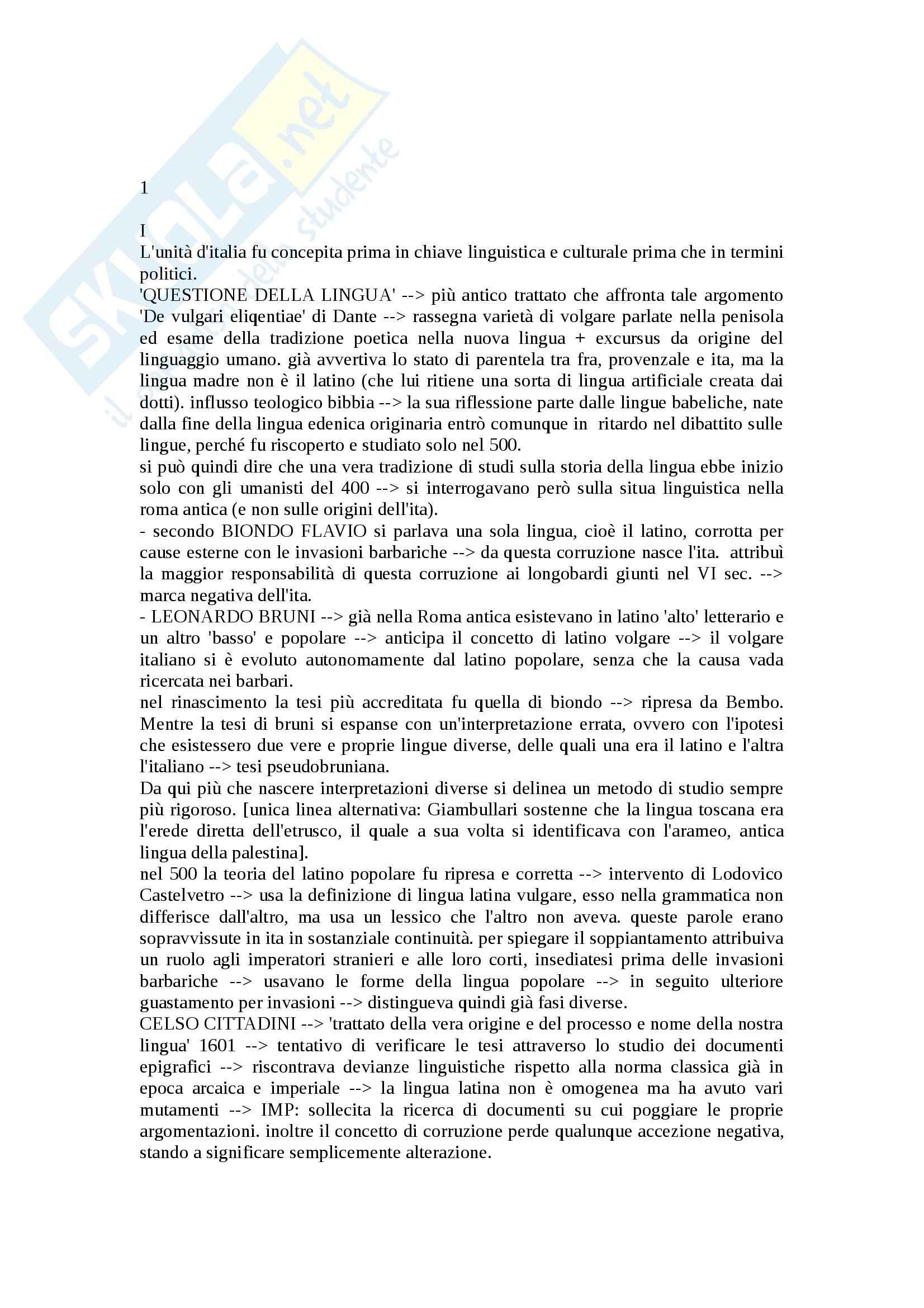 Riassunto esame Storia lingua, prof. Franceschini, libro consigliato La lingua italiana, profilo storico, Marazzini