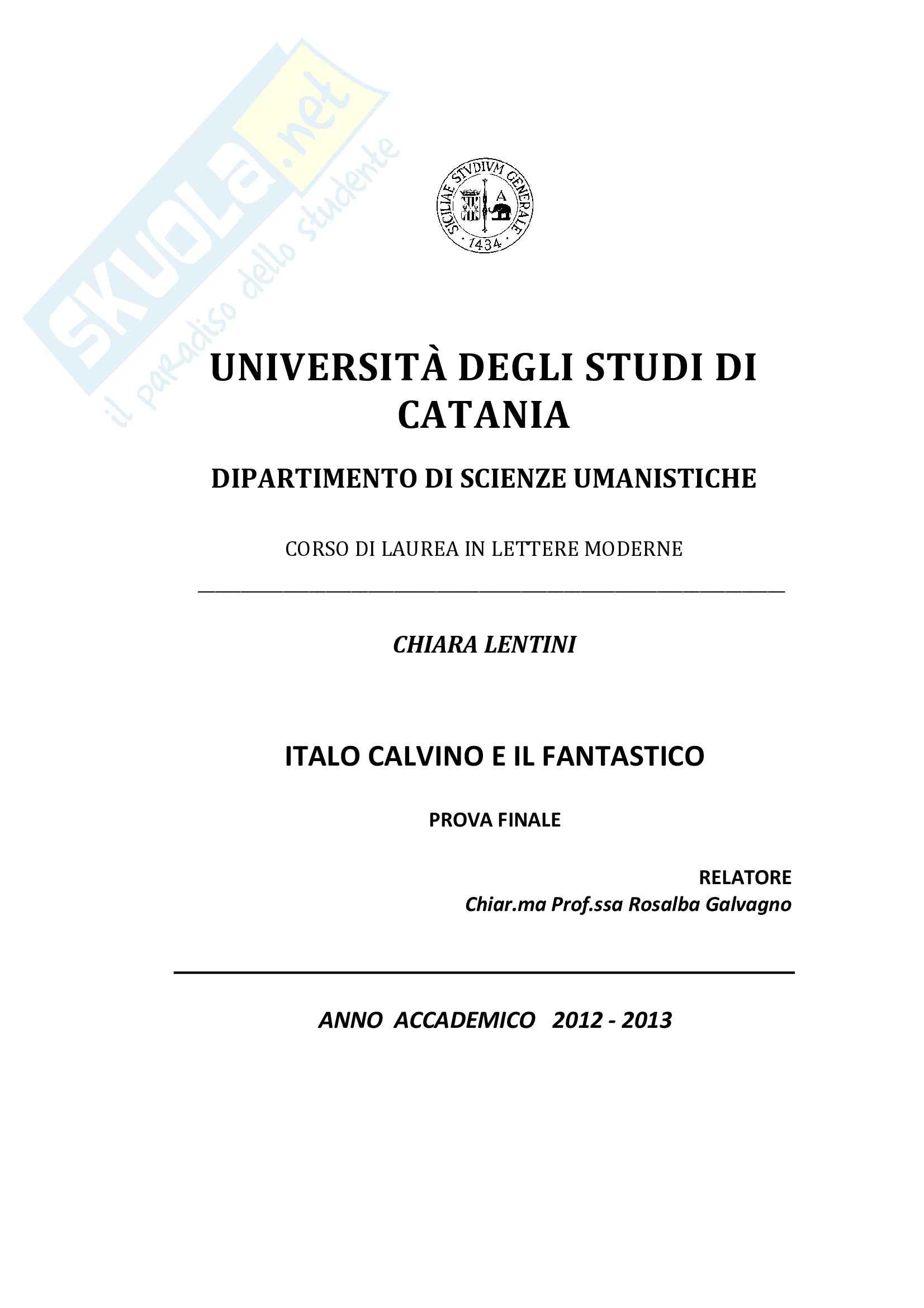 Tesi - Italo Calvino e il fantastico