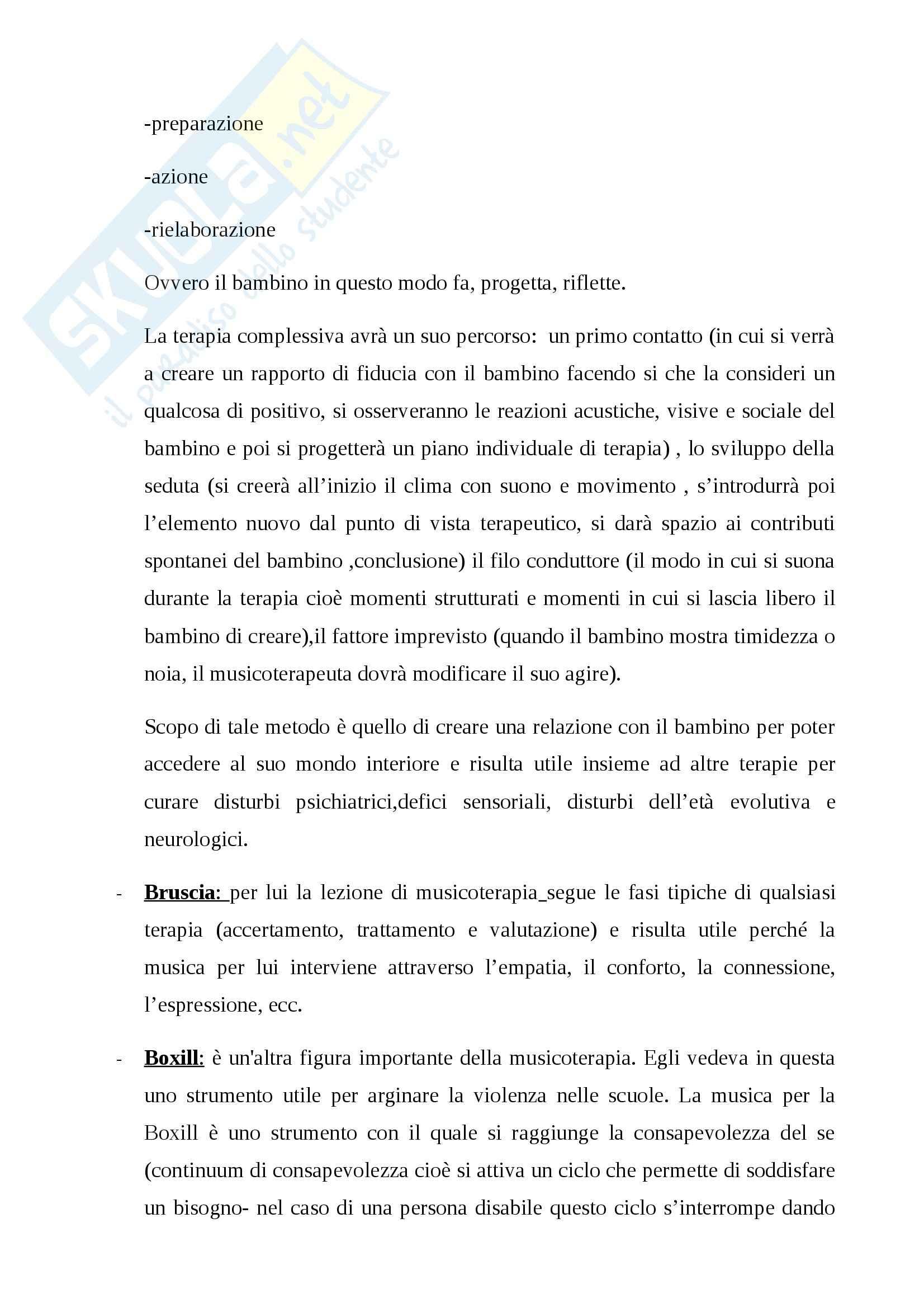 Riassunto esame Didattica speciale, prof. Chiappetta Cajola, libro consigliato Musicoterapia per l'integrazione, Chiappetta Cajola Pag. 6