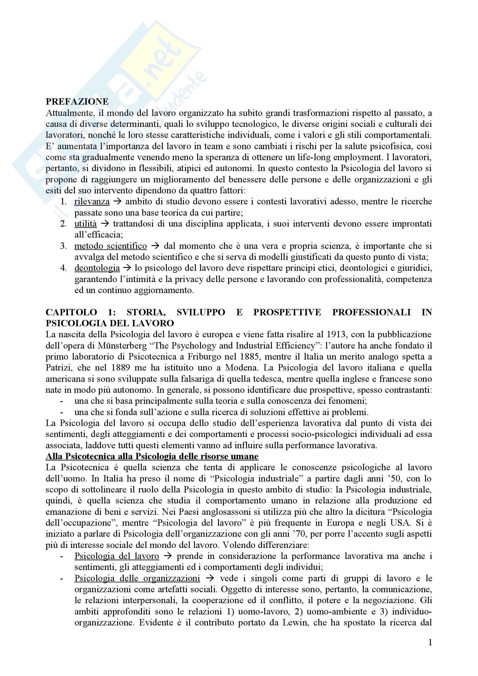 Riassunto esame Psicologia, prof. Cortese, libro consigliato Psicologia del lavoro, Argentero, Cortese