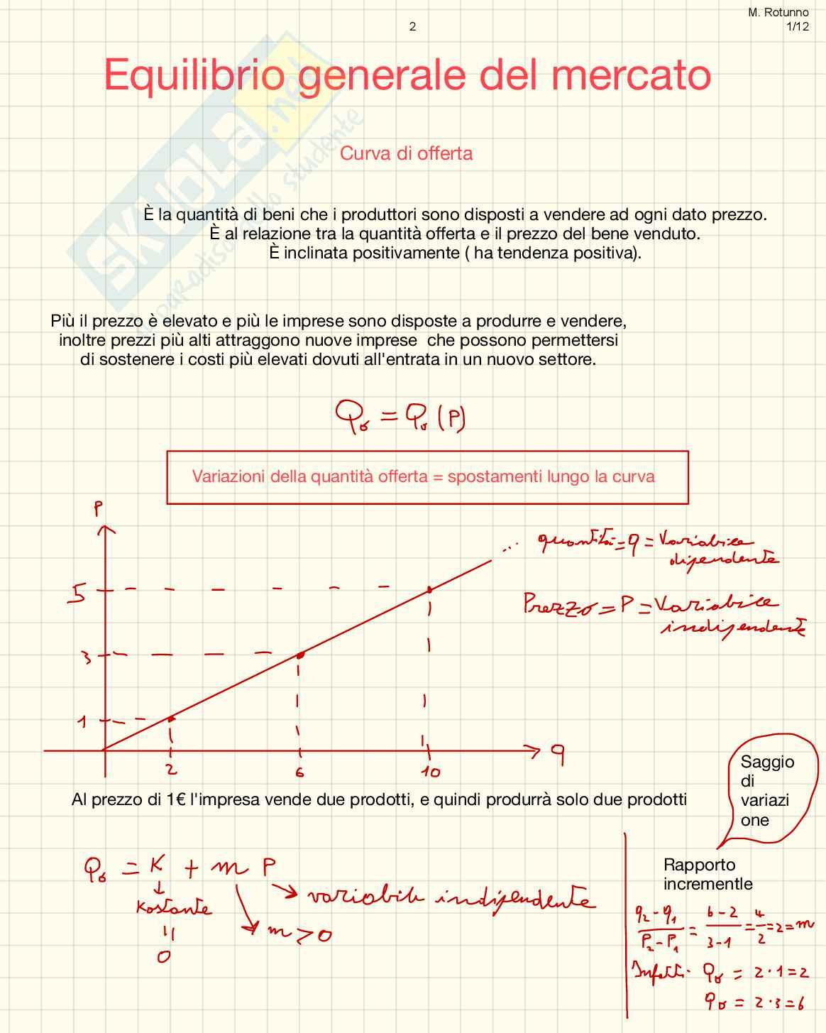 Microeconomia: appunti e rielaborazione sui concetti fondamentali con annessa spiegazione matematica ed esercizi Pag. 2