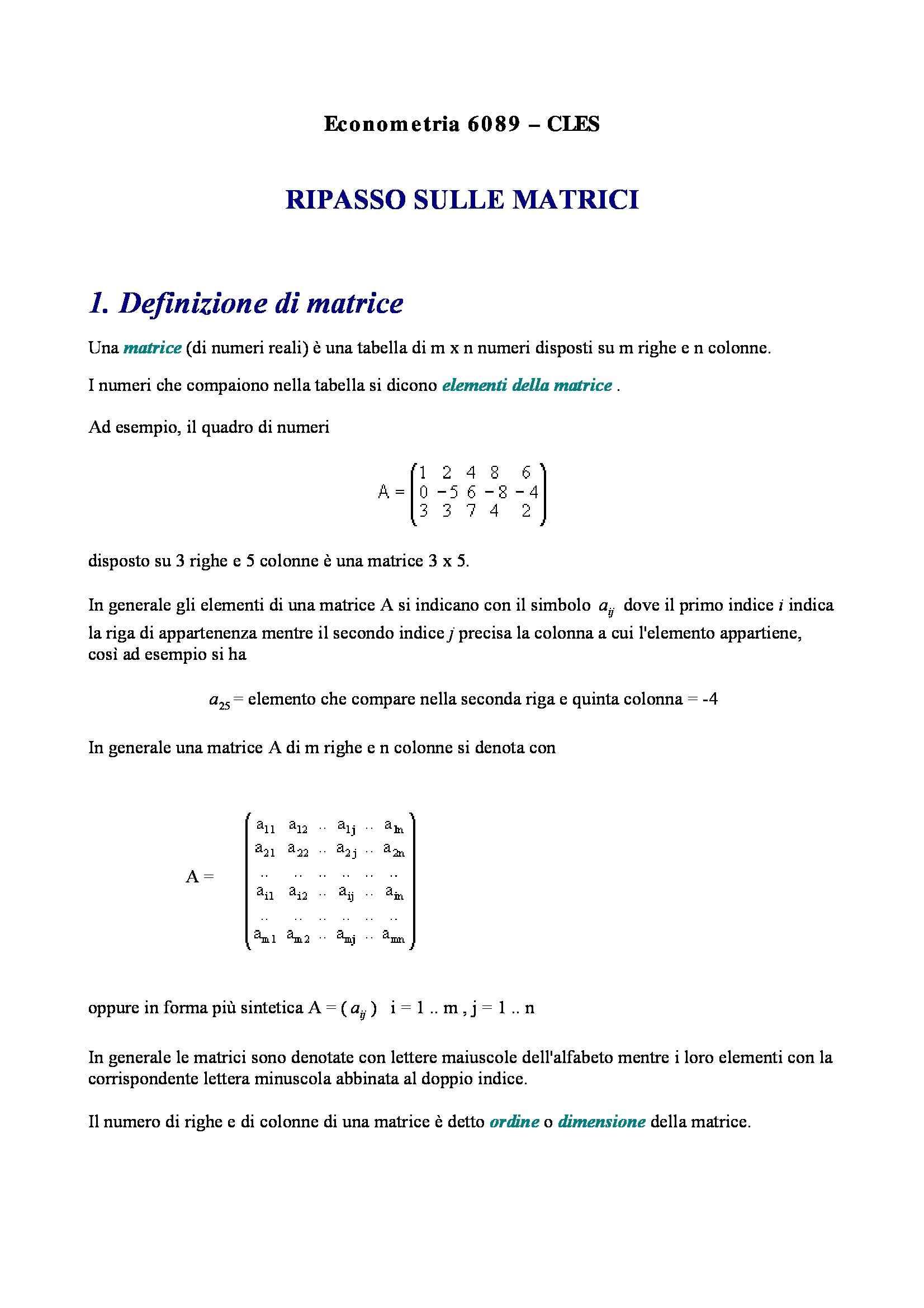 Econometria - le matrici