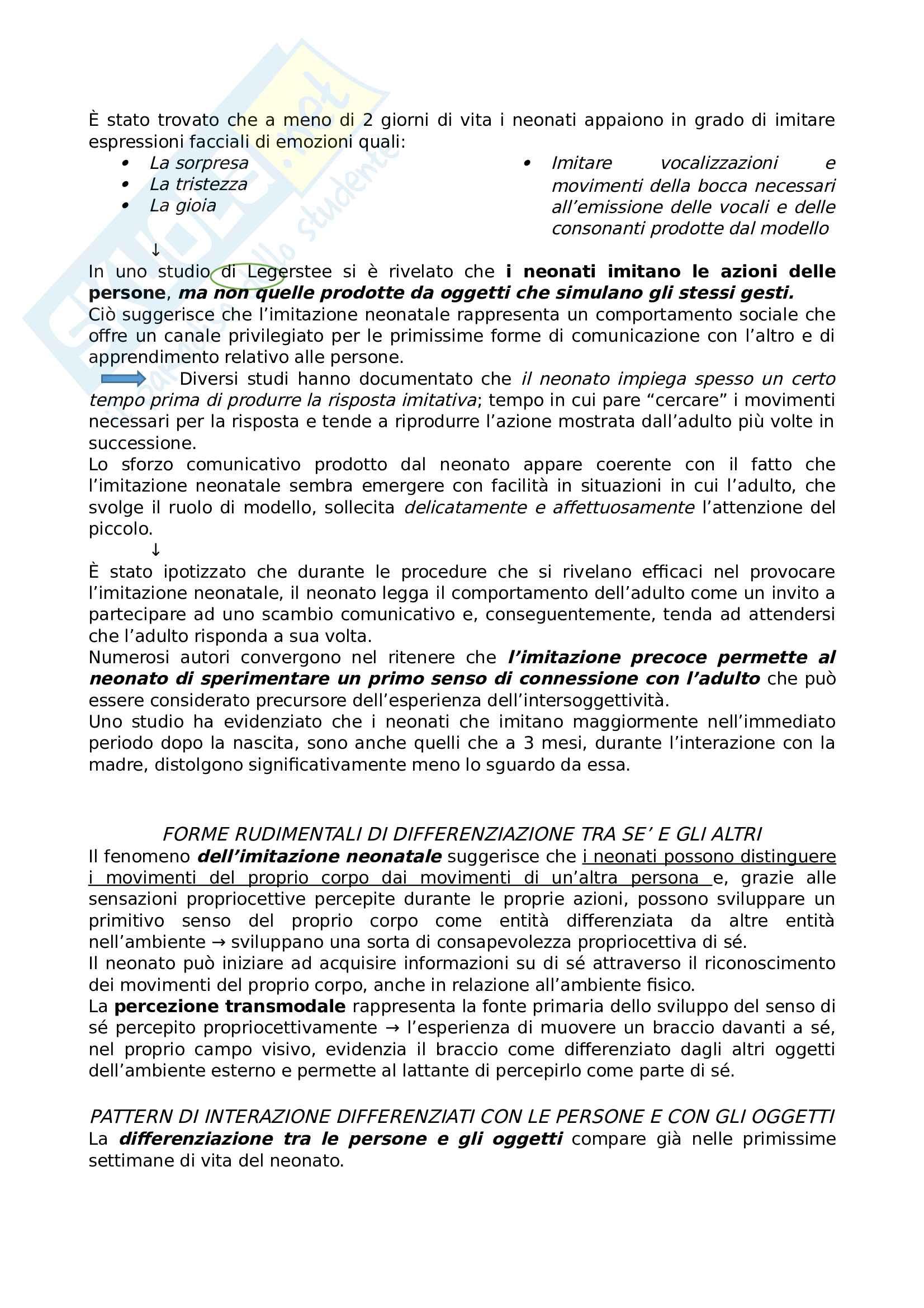 Riassunto esame Psicologia dello Sviluppo, prof. Lavelli, libro consigliato Intersoggettività. Origini e primi sviluppi, Lavelli Pag. 6
