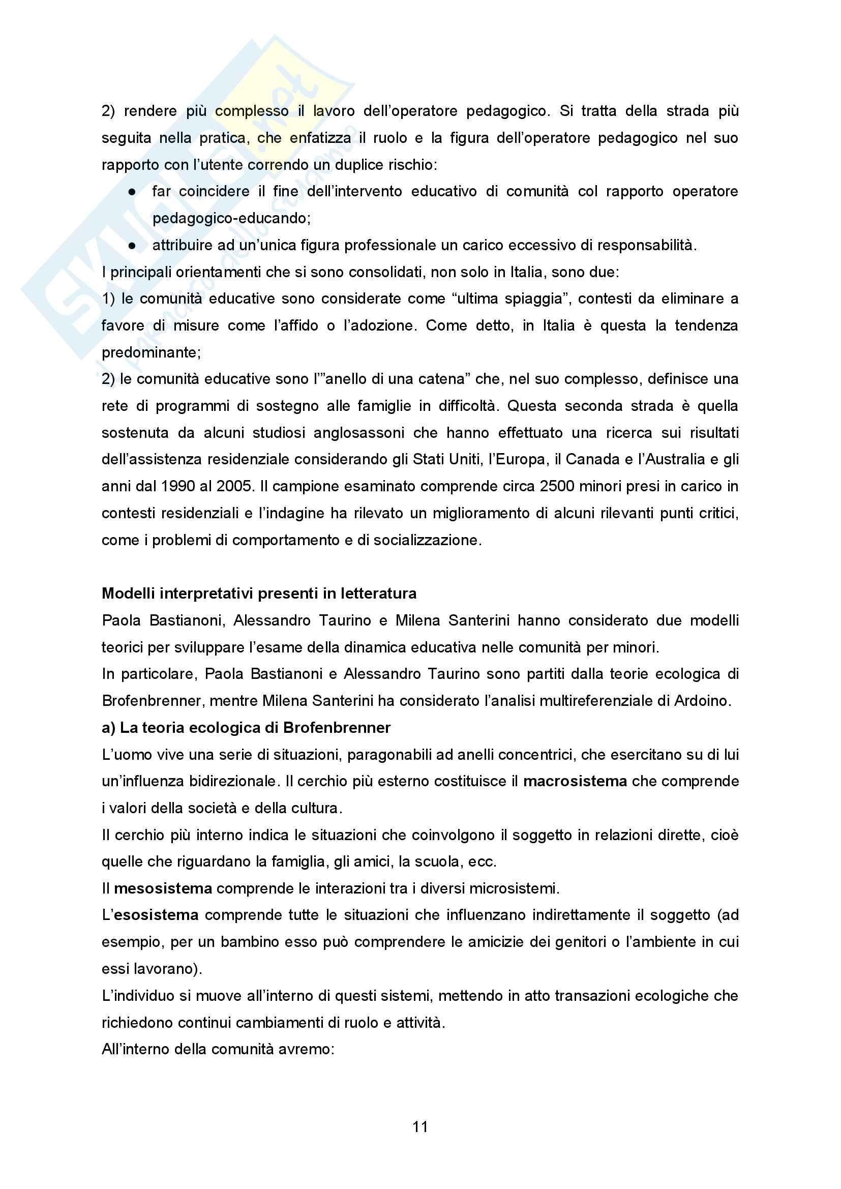 """Sunto Pedagogia dell'adolescenza, prof Barone libro consigliato """"La comunità per minori - Un modello pedagogico"""" di Alessandra Tibollo Pag. 11"""