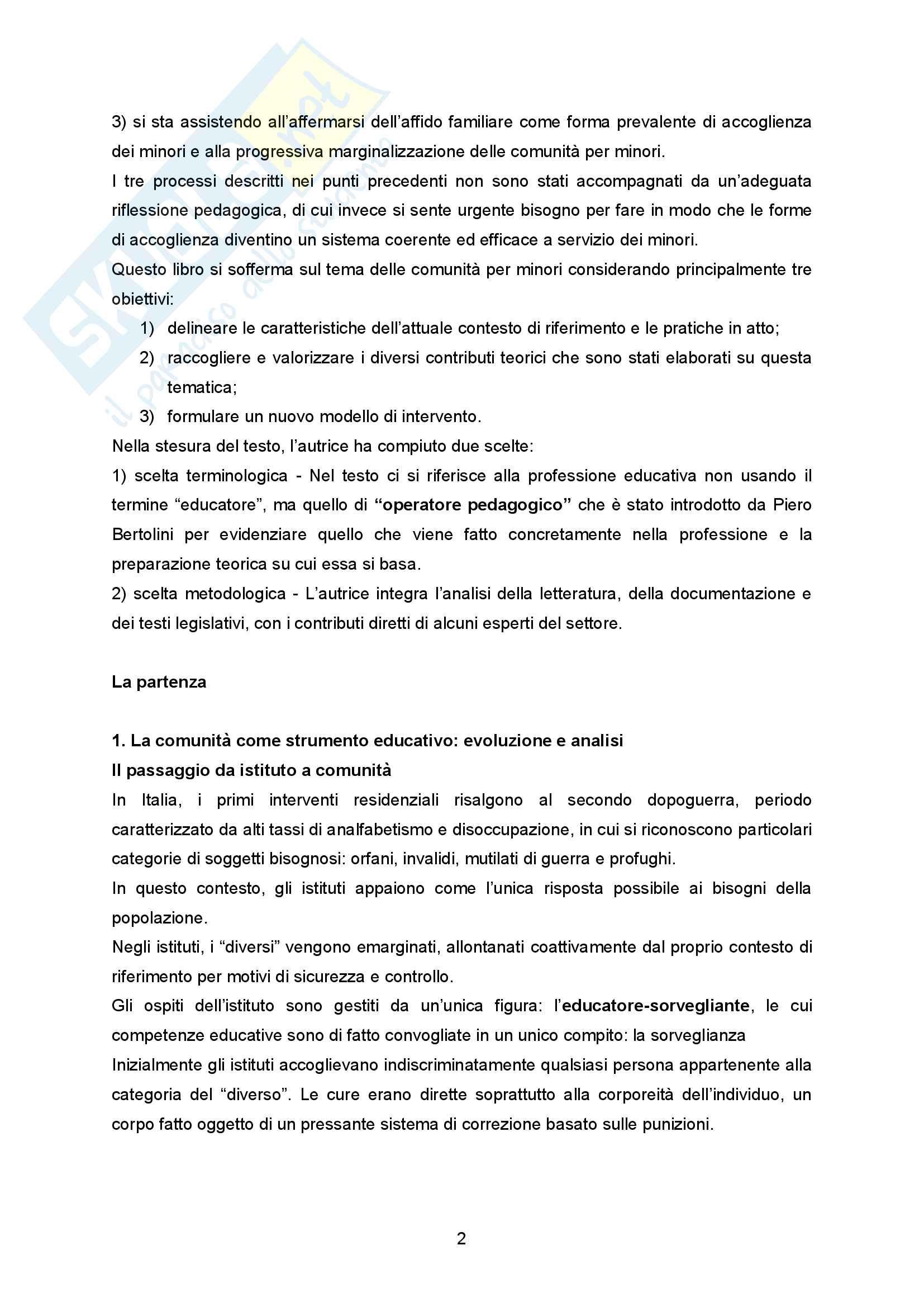 """Sunto Pedagogia dell'adolescenza, prof Barone libro consigliato """"La comunità per minori - Un modello pedagogico"""" di Alessandra Tibollo Pag. 2"""