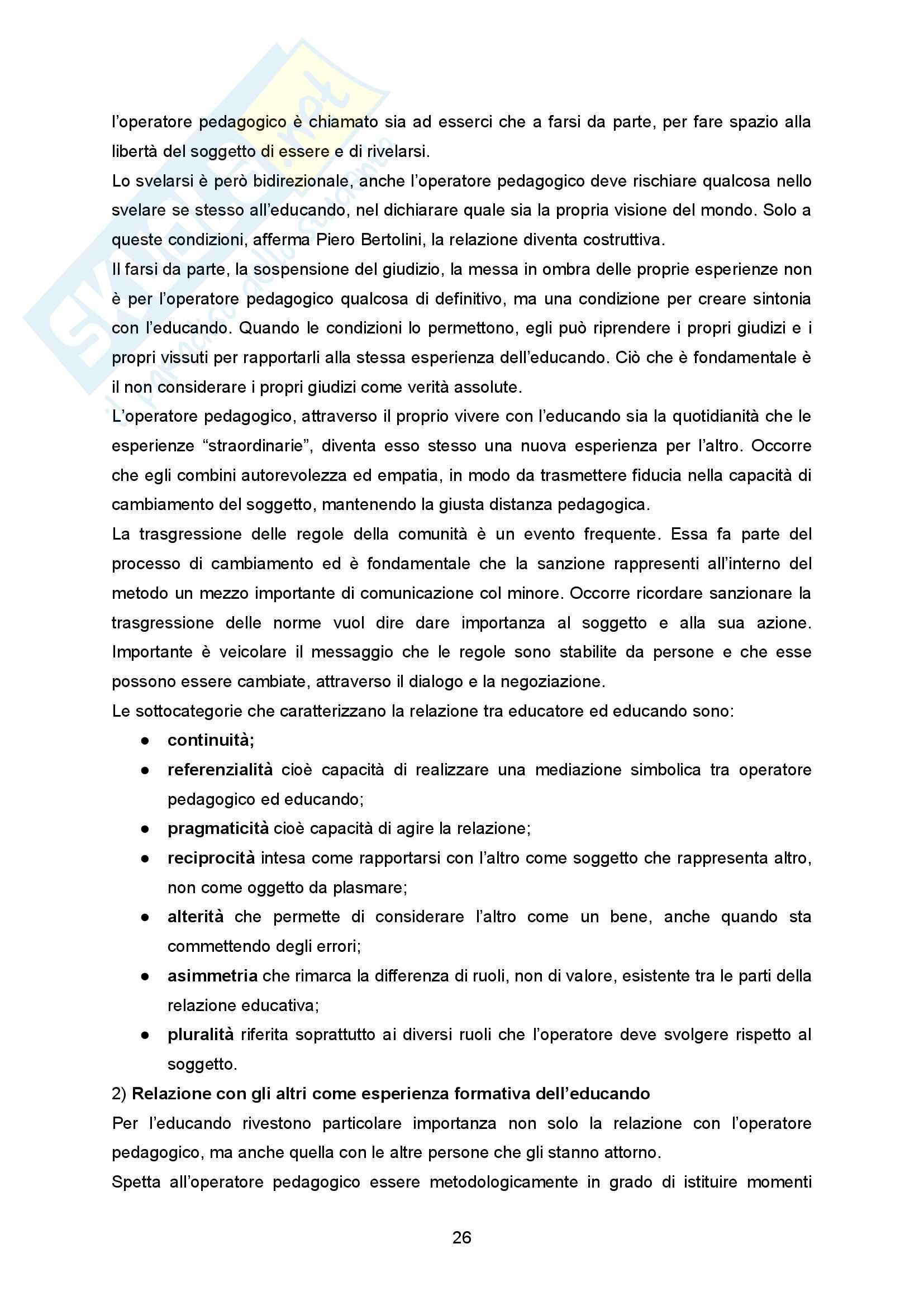 """Sunto Pedagogia dell'adolescenza, prof Barone libro consigliato """"La comunità per minori - Un modello pedagogico"""" di Alessandra Tibollo Pag. 26"""