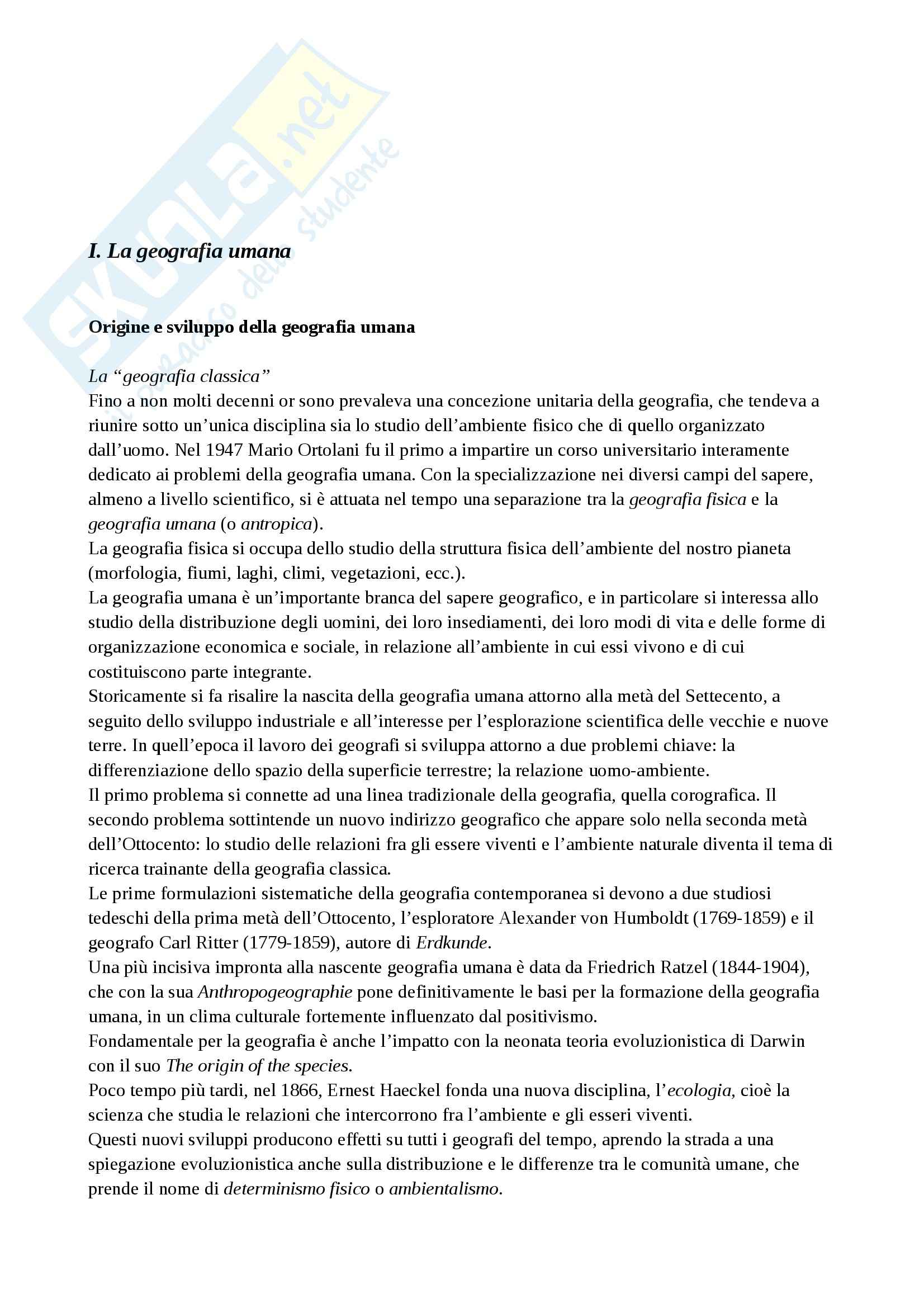 Riassunto esame Geografia, prof. Lucarno, libro consigliato Compendio di Geografia Umana,Dagradi, Cencini