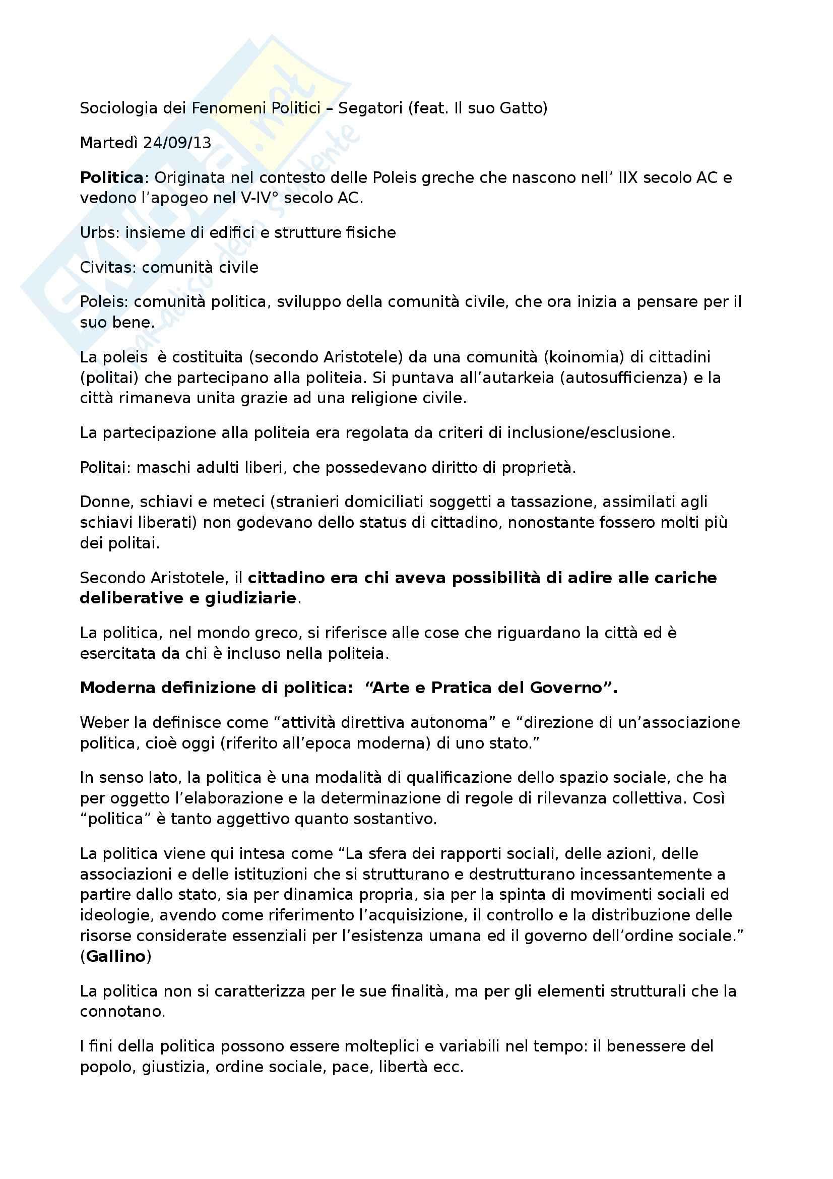 Riassunto esame Sociologia dei Fenomeni Politici, prof. Segatori