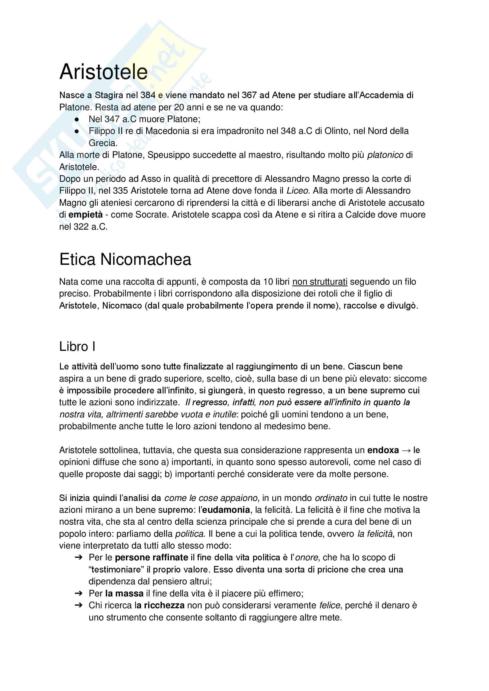Etica Nicomachea - Aristotele Pag. 1