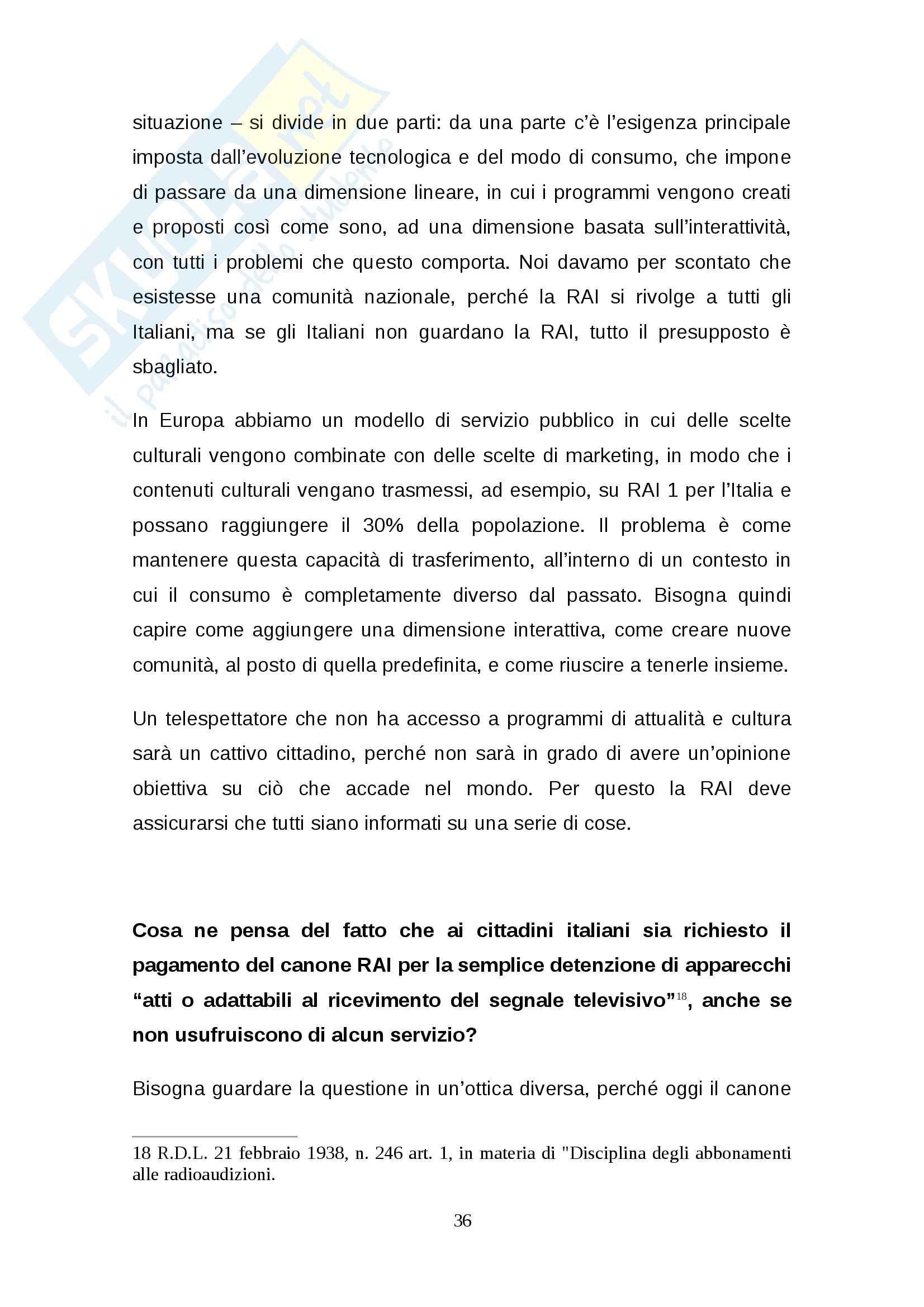 Tesi: Rinnovo della concessione pubblica Stato-RAI: regole e dibattito Pag. 36