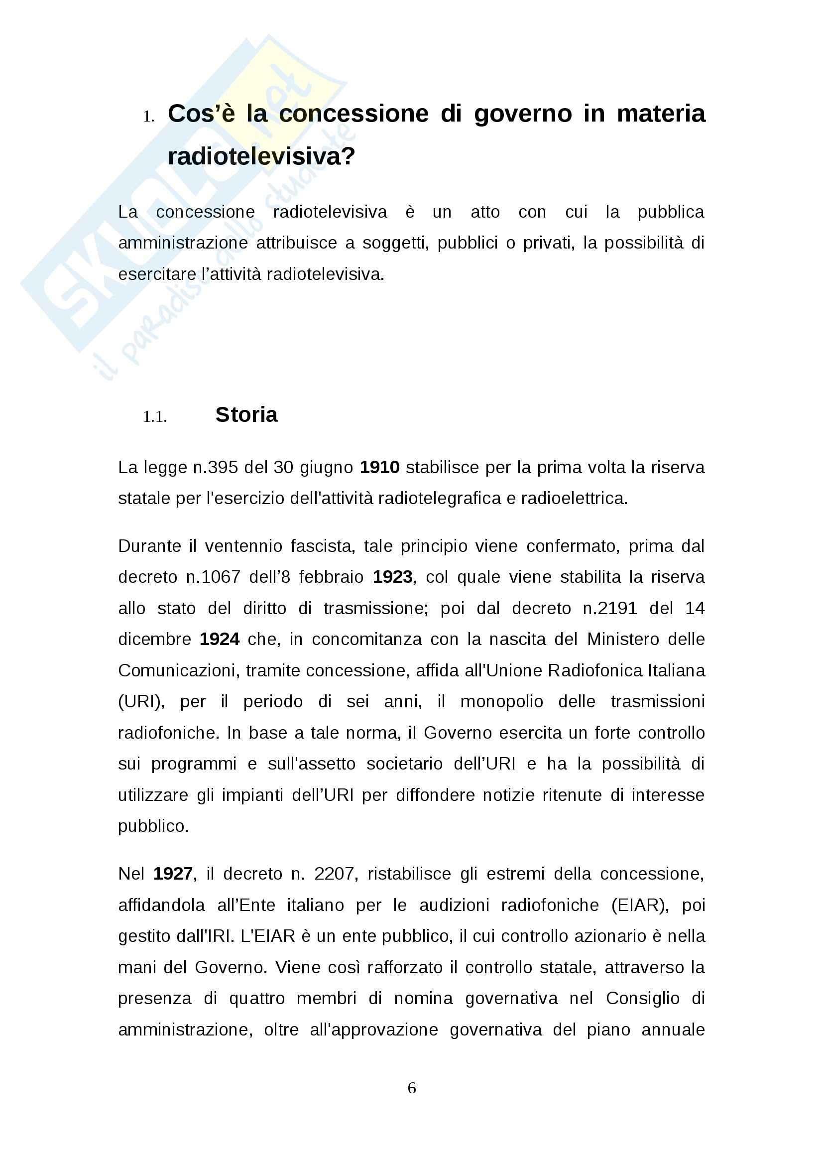 Tesi: Rinnovo della concessione pubblica Stato-RAI: regole e dibattito Pag. 6